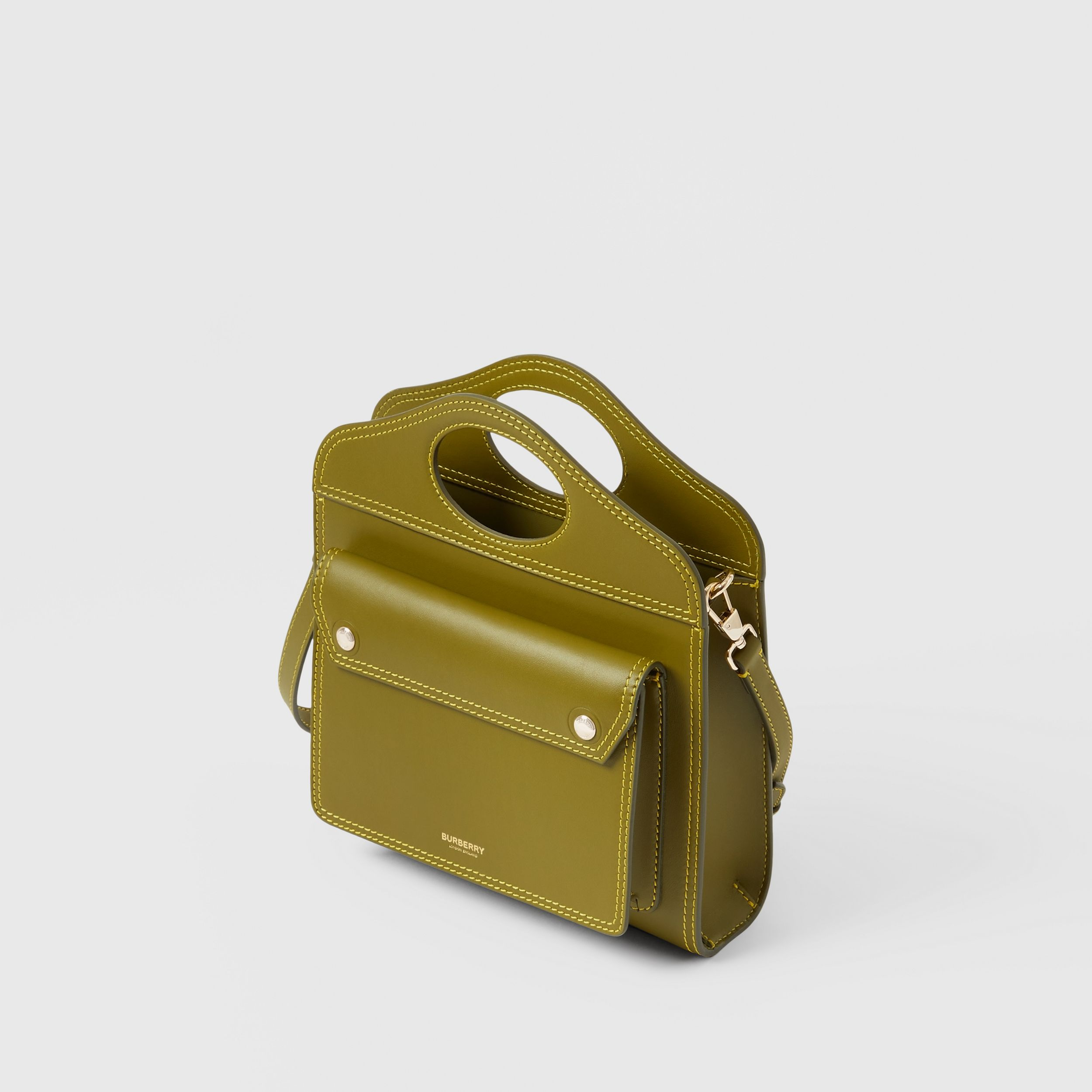 Mini Topstitched Leather Pocket Bag in Juniper Green - Women | Burberry Singapore - 4