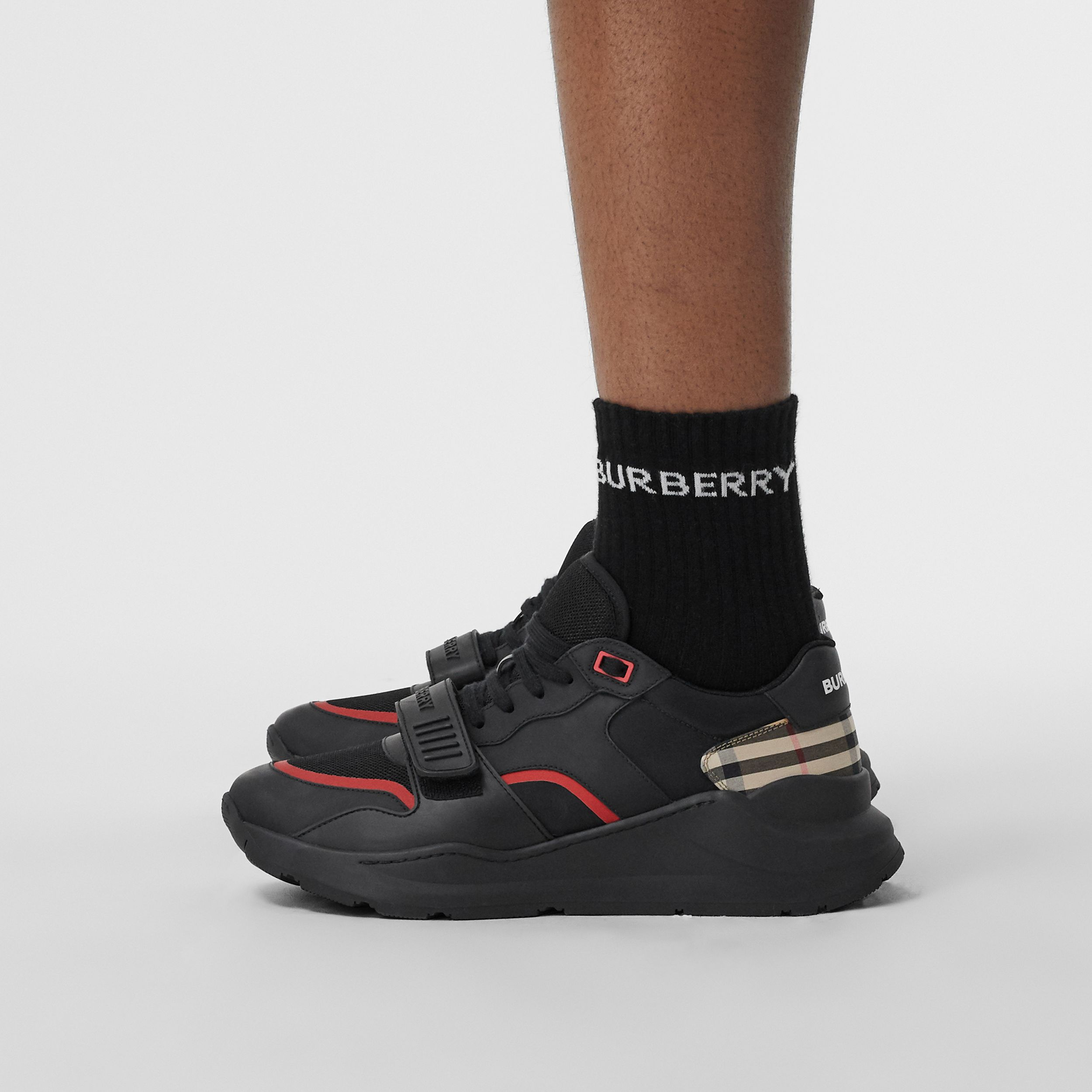 Vintage Check, Leather and Mesh Sneakers in Black - Men | Burberry - 3
