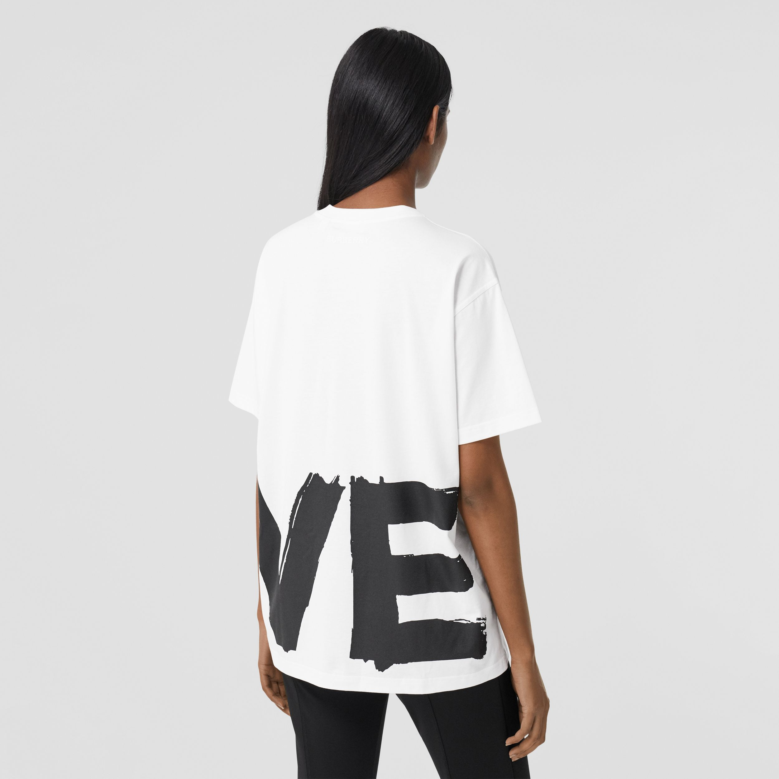 Love Print Cotton Oversized T-shirt in White - Women | Burberry - 3