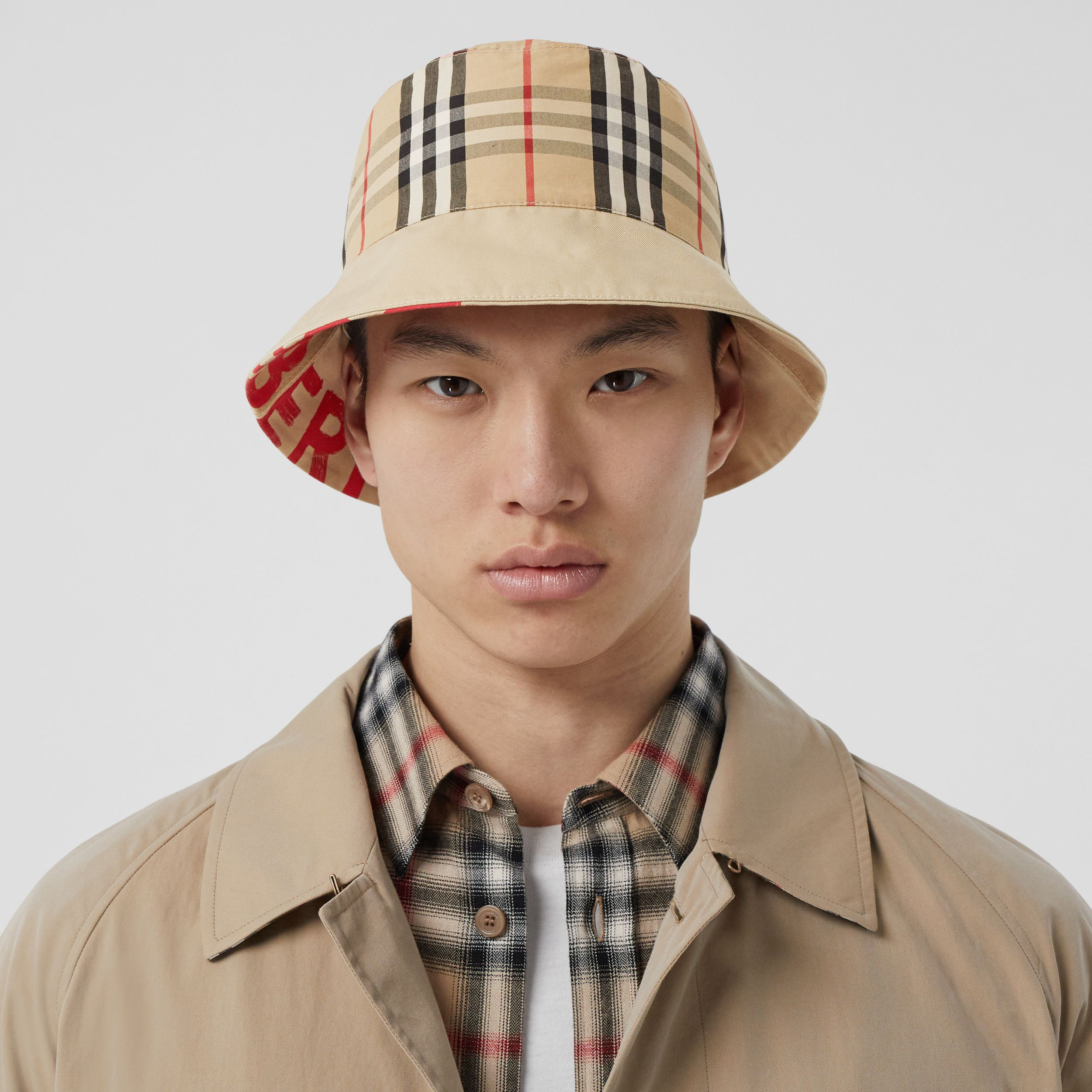 Reversible Logo Print Cotton Gabardine Bucket Hat in Honey | Burberry United States - 4