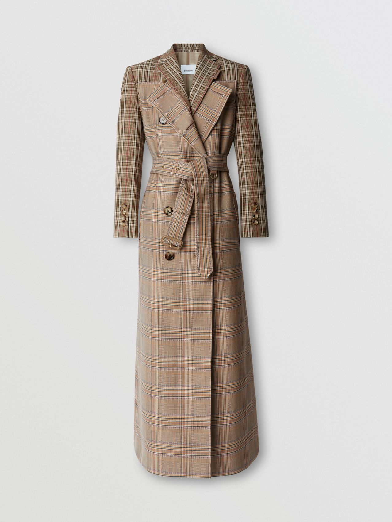 Custom Fit Contrast Check Wool Cotton Trench Coat in Dark Honey