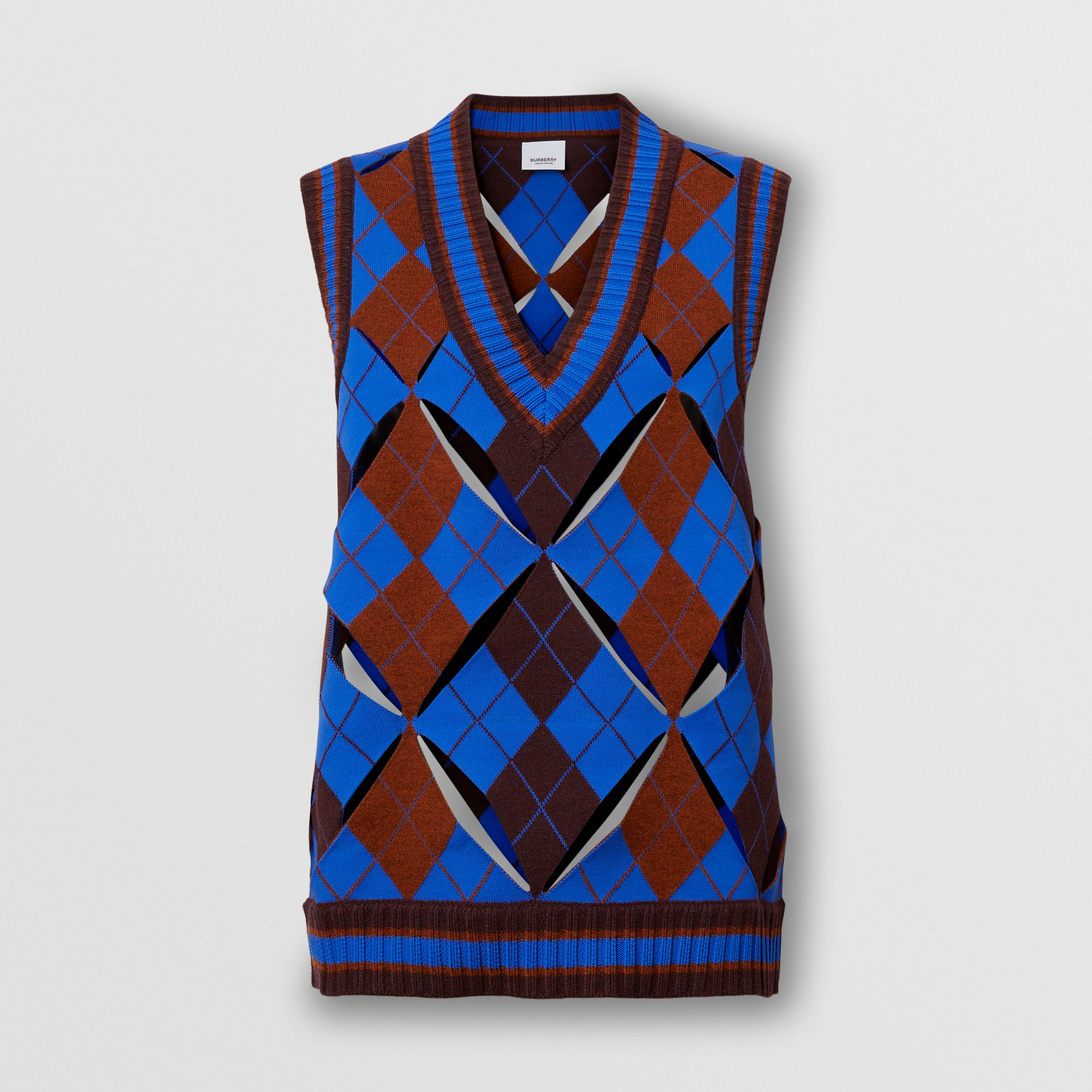 Cut-out Detail Argyle Technical Wool Jacquard Vest in Bright Blue - Women | Burberry - 1