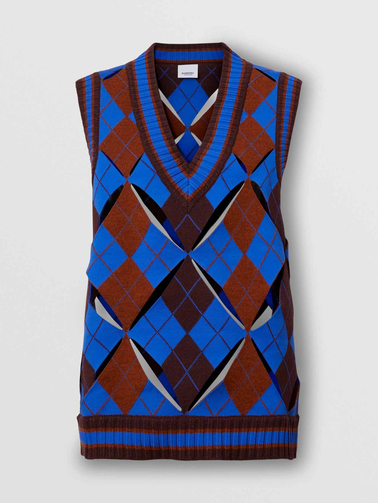 Cut-out Detail Argyle Technical Wool Jacquard Vest in Bright Blue