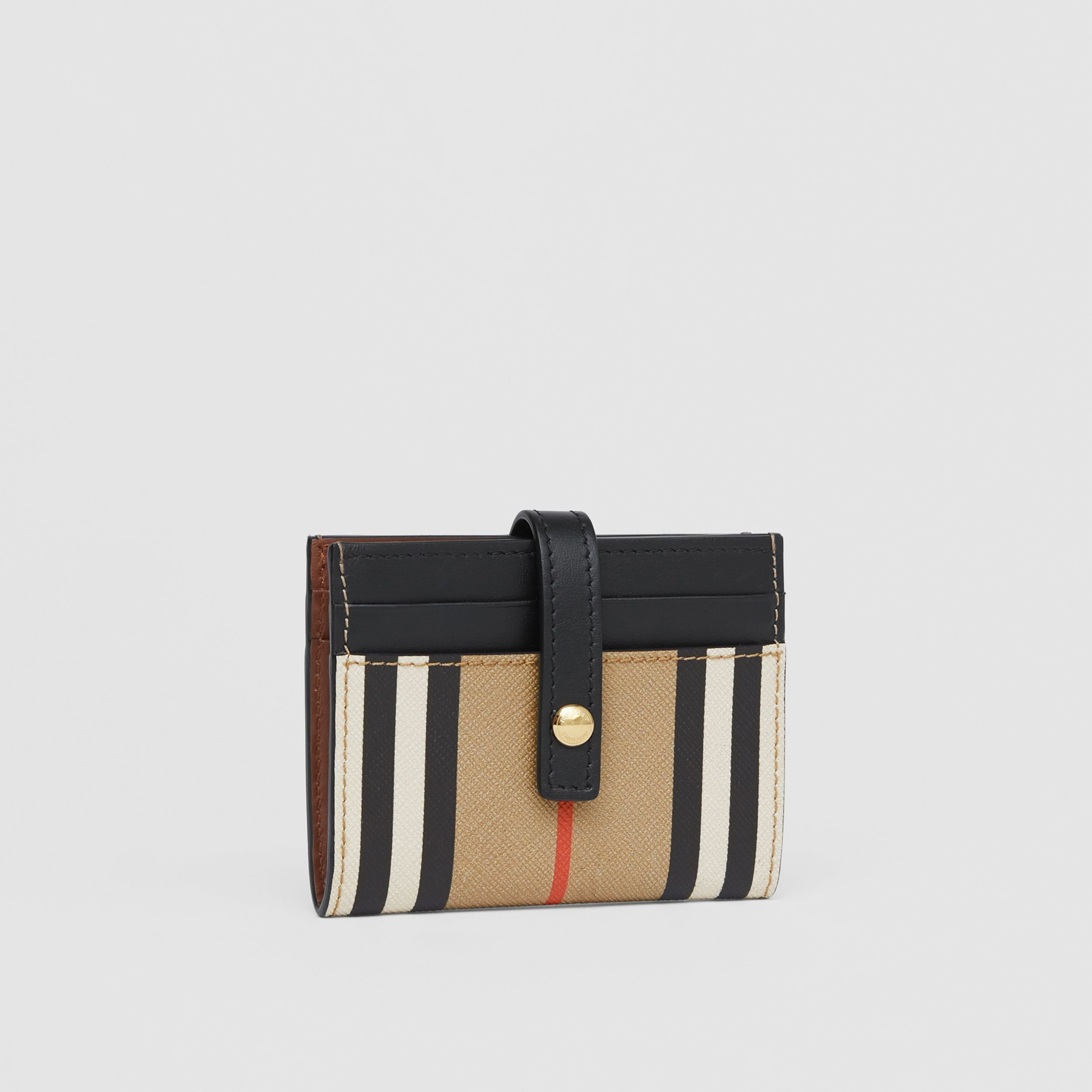 Icon Stripe E-canvas Folding Card Case in Archive Beige - Women | Burberry - 4