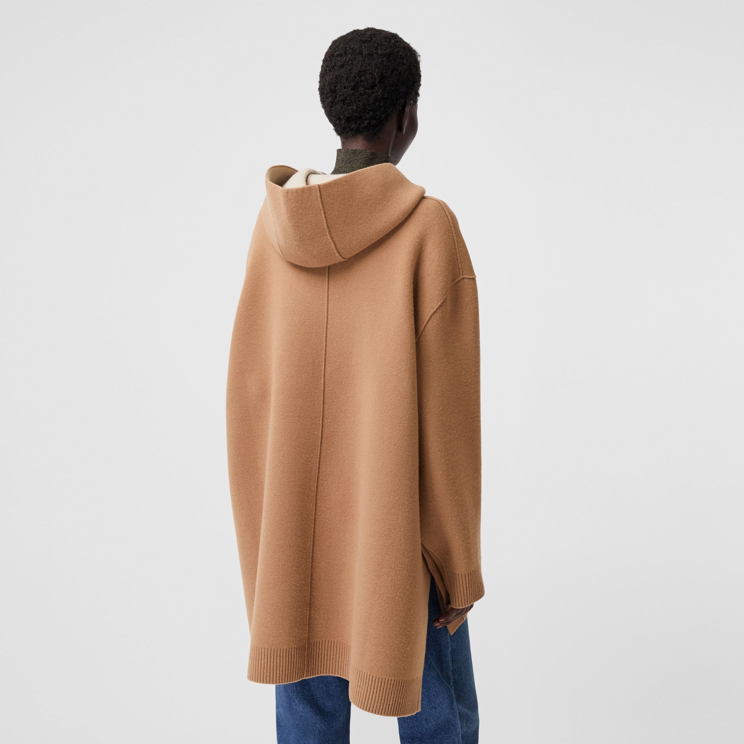 Double-faced Merino Wool Cashmere Blend Hoodie in Warm Camel - Women | Burberry - 3