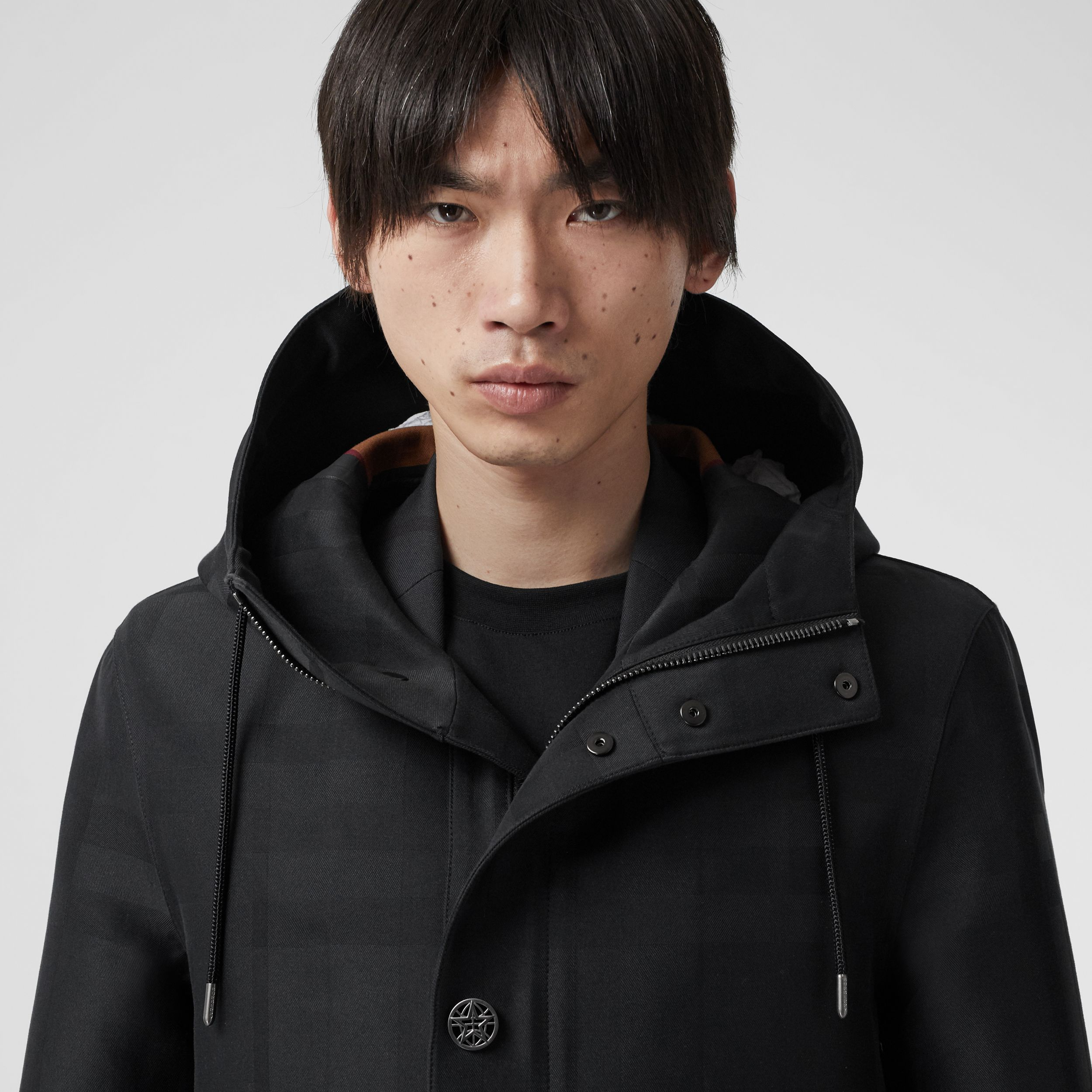 Globe Graphic Detail Check Technical Cotton Coat in Black - Men | Burberry - 2