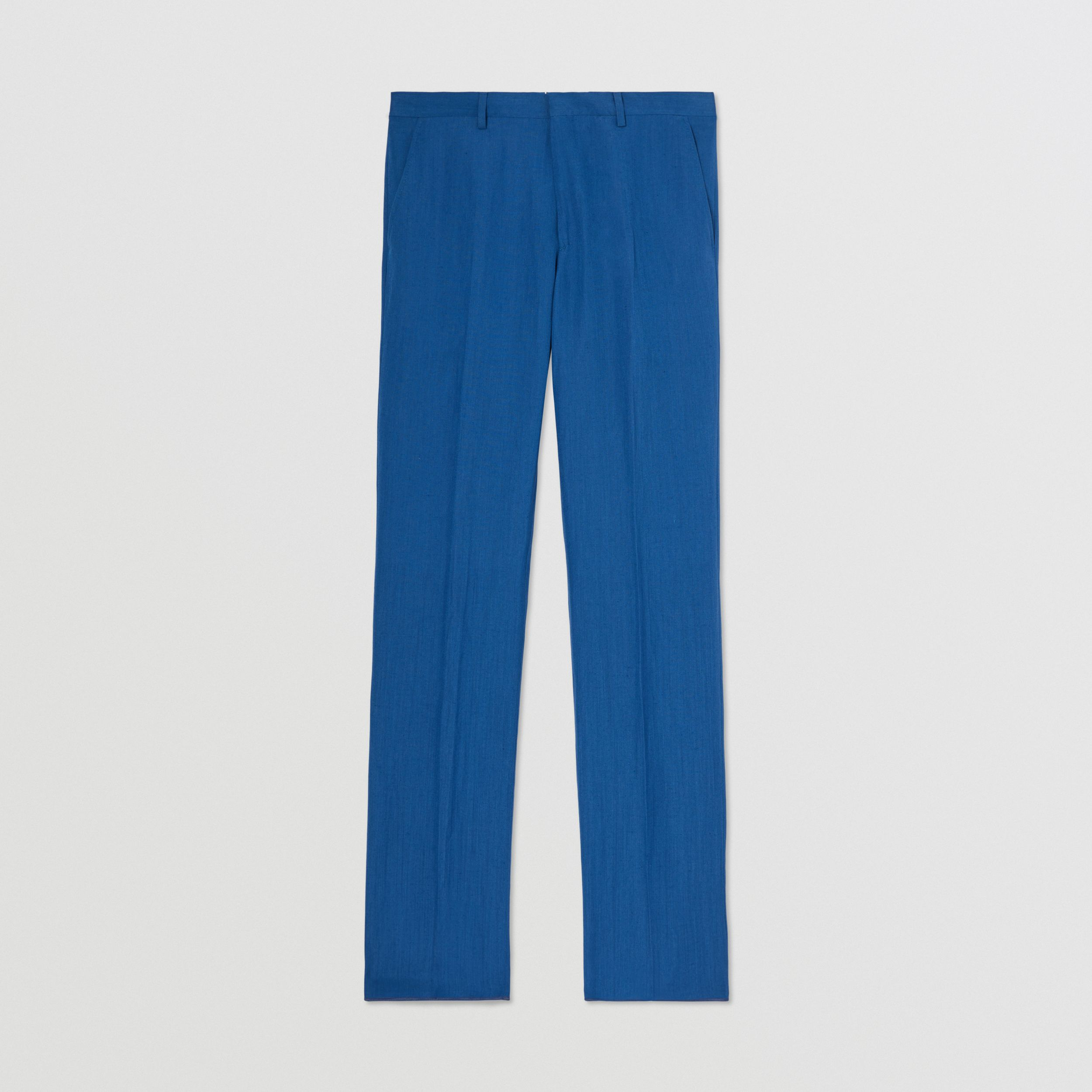 Classic Fit Linen Mohair Silk Tailored Trousers in Dark Cerulean Blue - Men | Burberry - 4