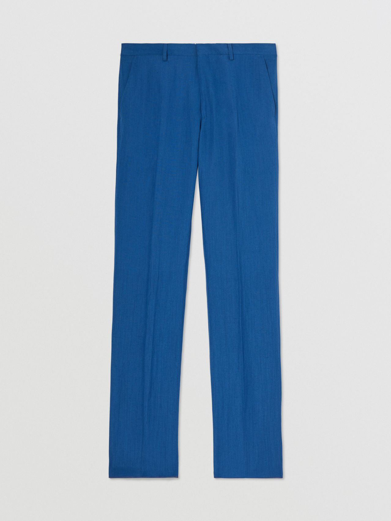 Classic Fit Linen Mohair Silk Tailored Trousers in Dark Cerulean Blue