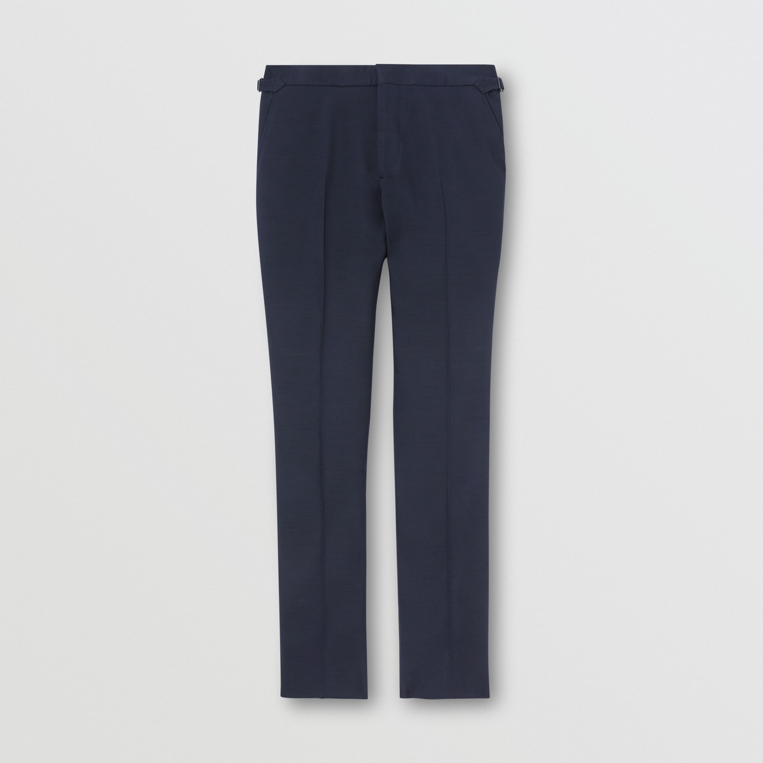 Classic Fit Wool Silk Blend Tailored Trousers in Navy - Men | Burberry - 4
