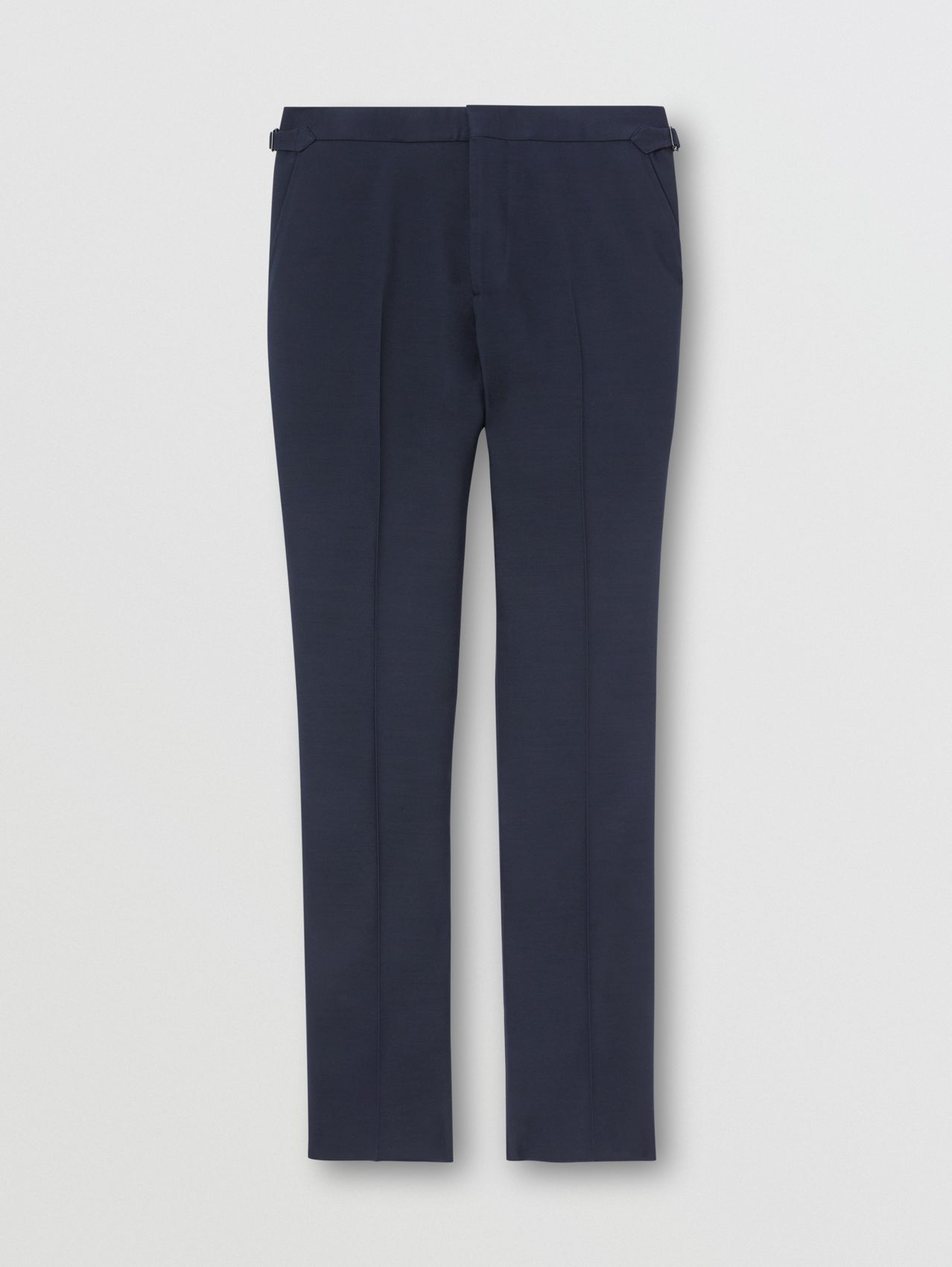 Classic Fit Wool Silk Blend Tailored Trousers in Navy