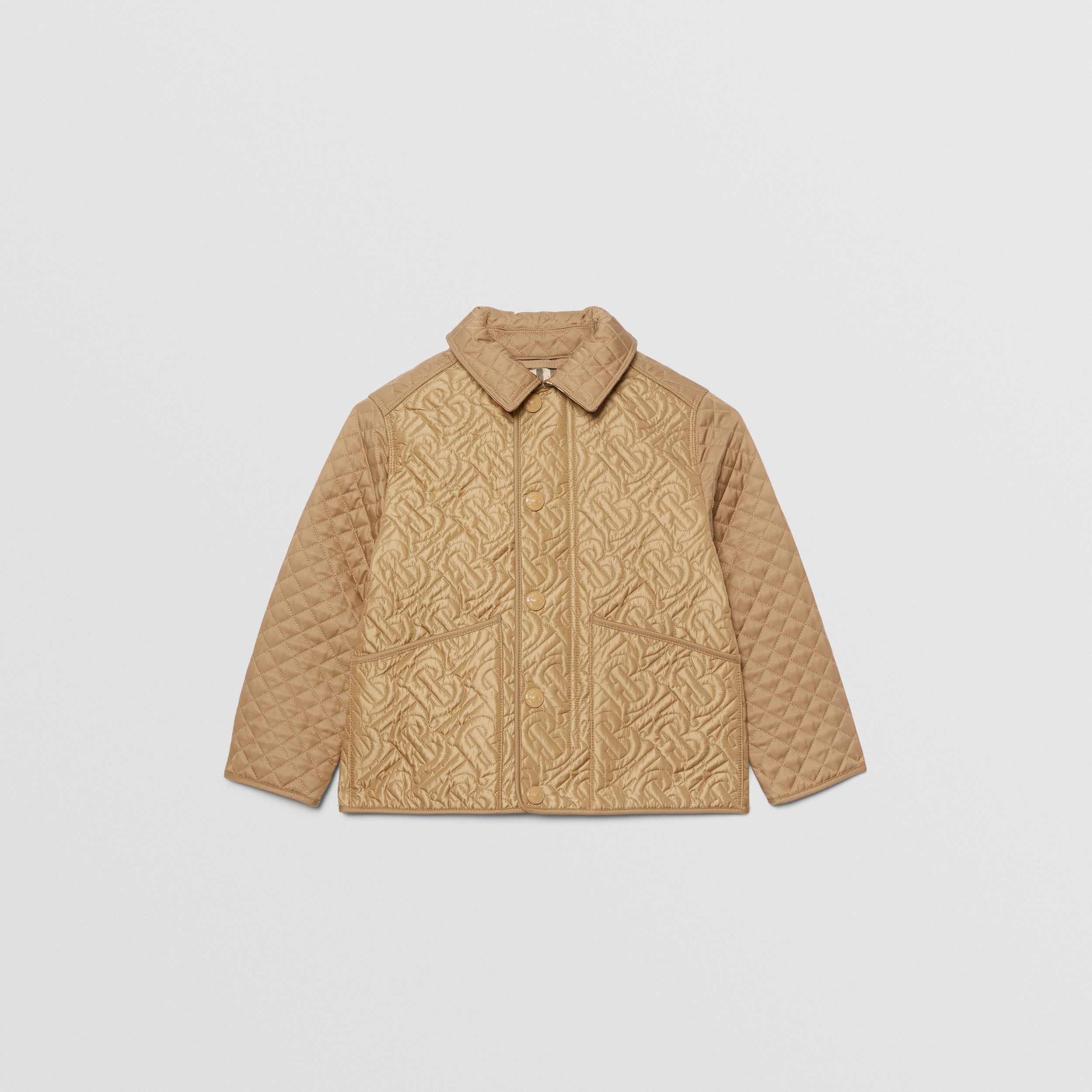 Monogram Quilted Panel Recycled Polyester Jacket in Honey | Burberry - 1