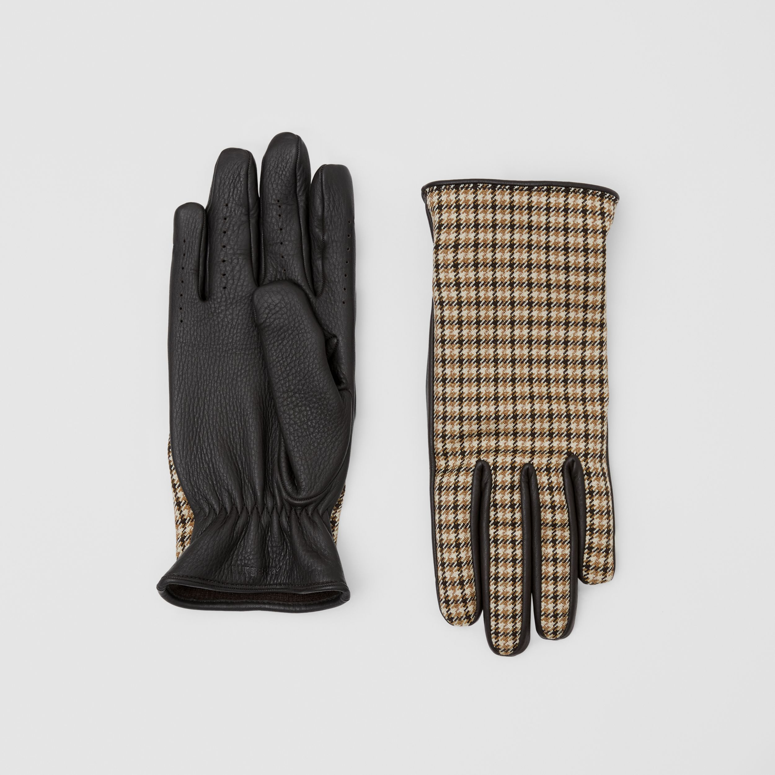 Cashmere-lined Lambskin and Check Wool Gloves in Brown | Burberry - 1