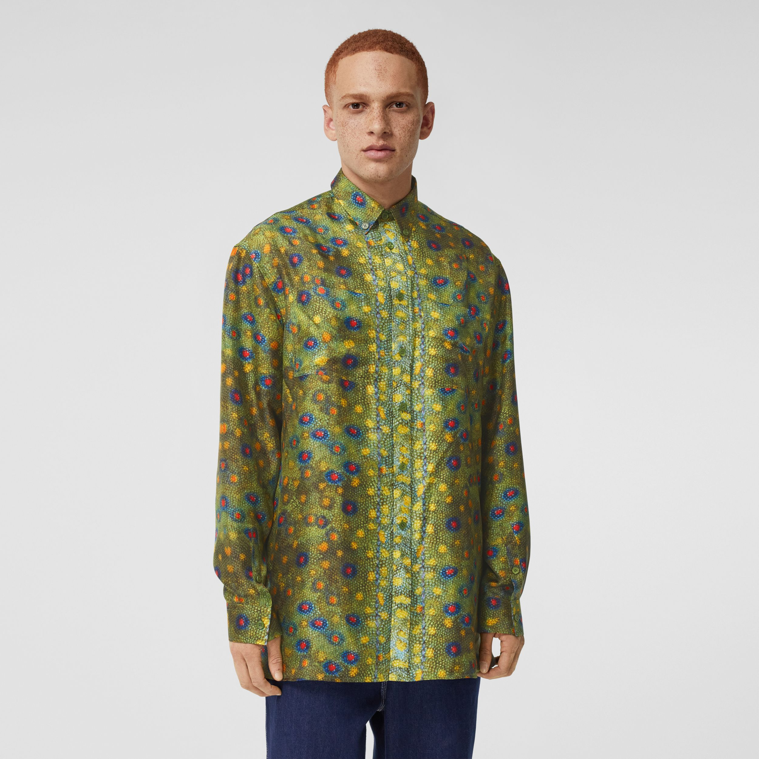 Fish-scale Print Silk Shirt in Olive - Men | Burberry United Kingdom - 1