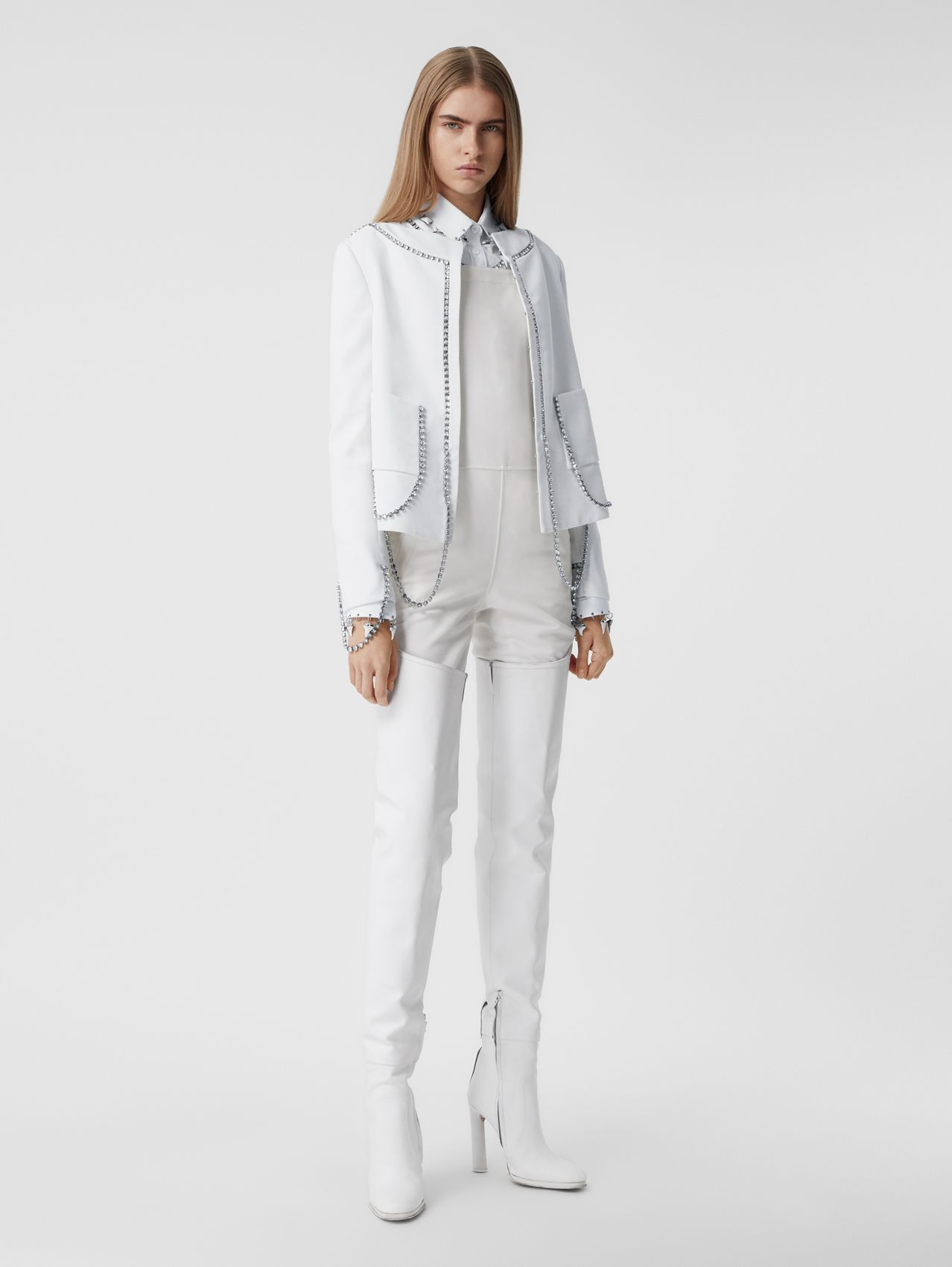 Crystal Chain Detail Technical Wool Jacket in Optic White