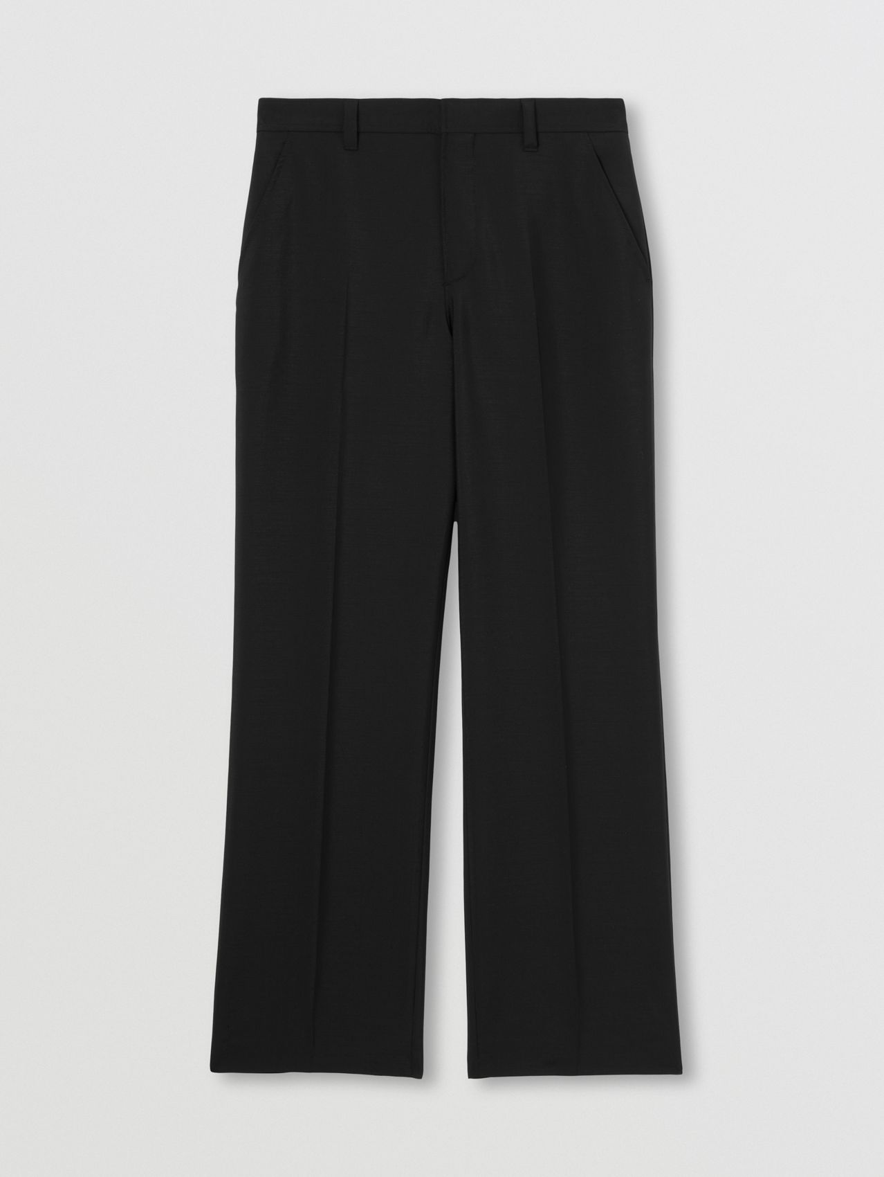 Mohair Wool Wide-leg Trousers in Black