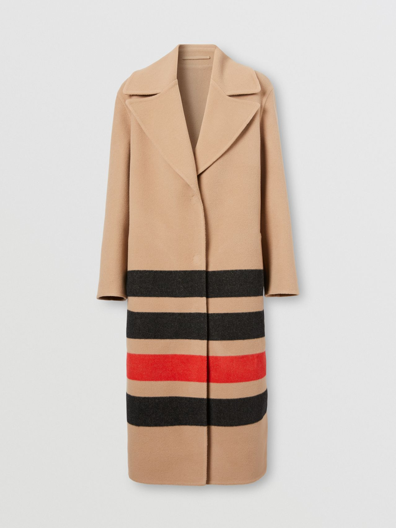 Stripe Detail Double-faced Wool Coat in Light Camel