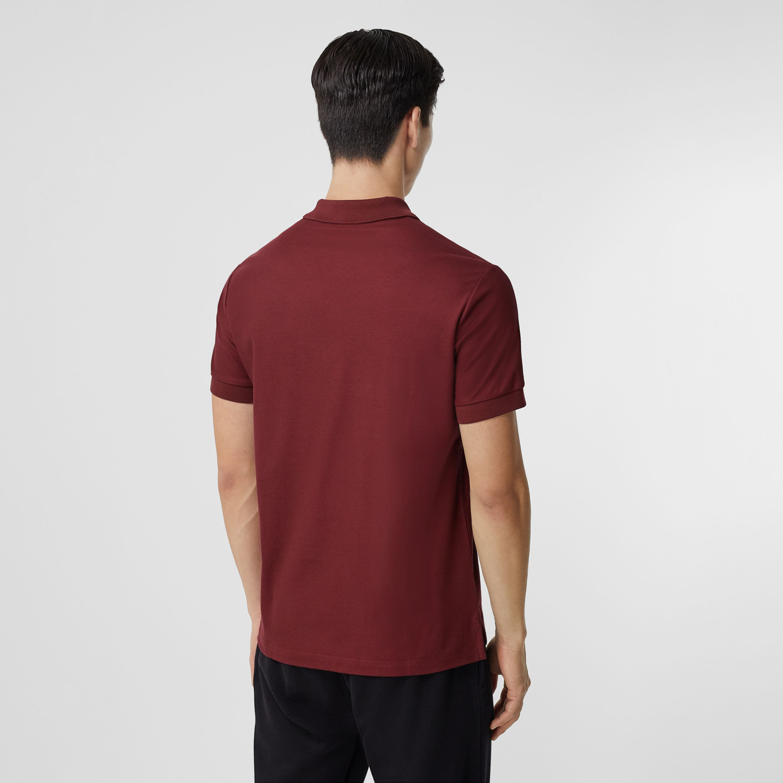 Monogram Motif Cotton Piqué Polo Shirt in Garnet - Men | Burberry - 3