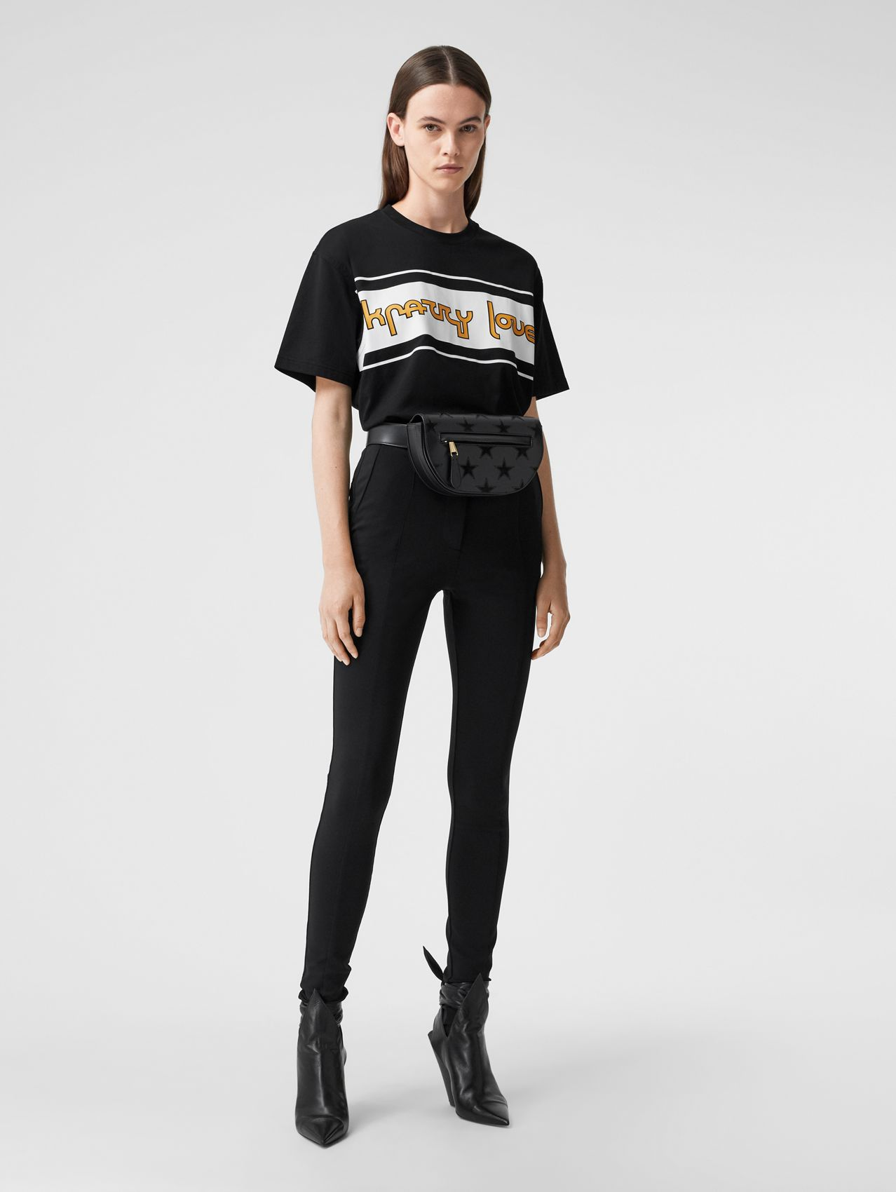 Slogan Print Cotton Oversized T-shirt in Black