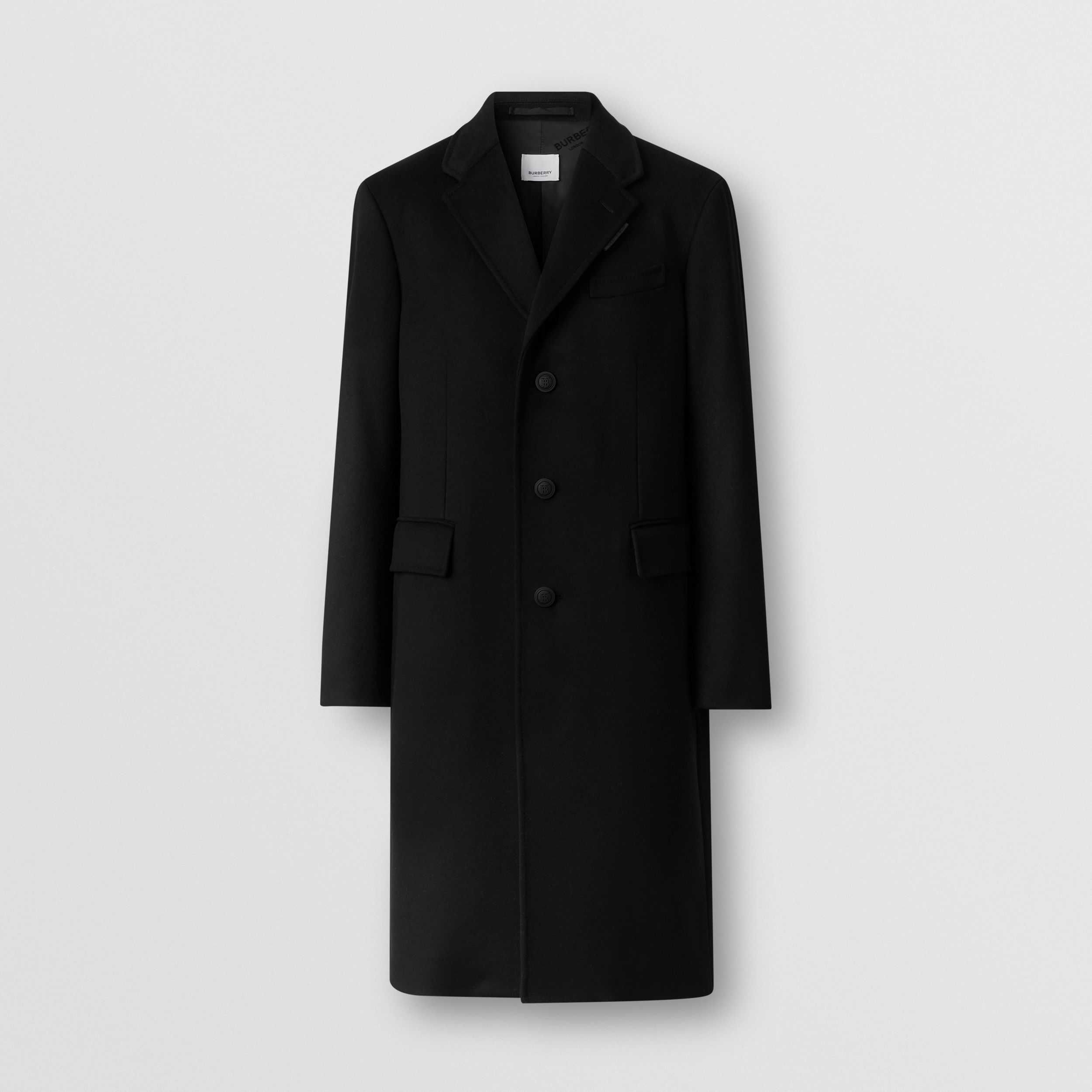 Button Detail Wool Cashmere Tailored Coat in Black - Men | Burberry Canada - 4