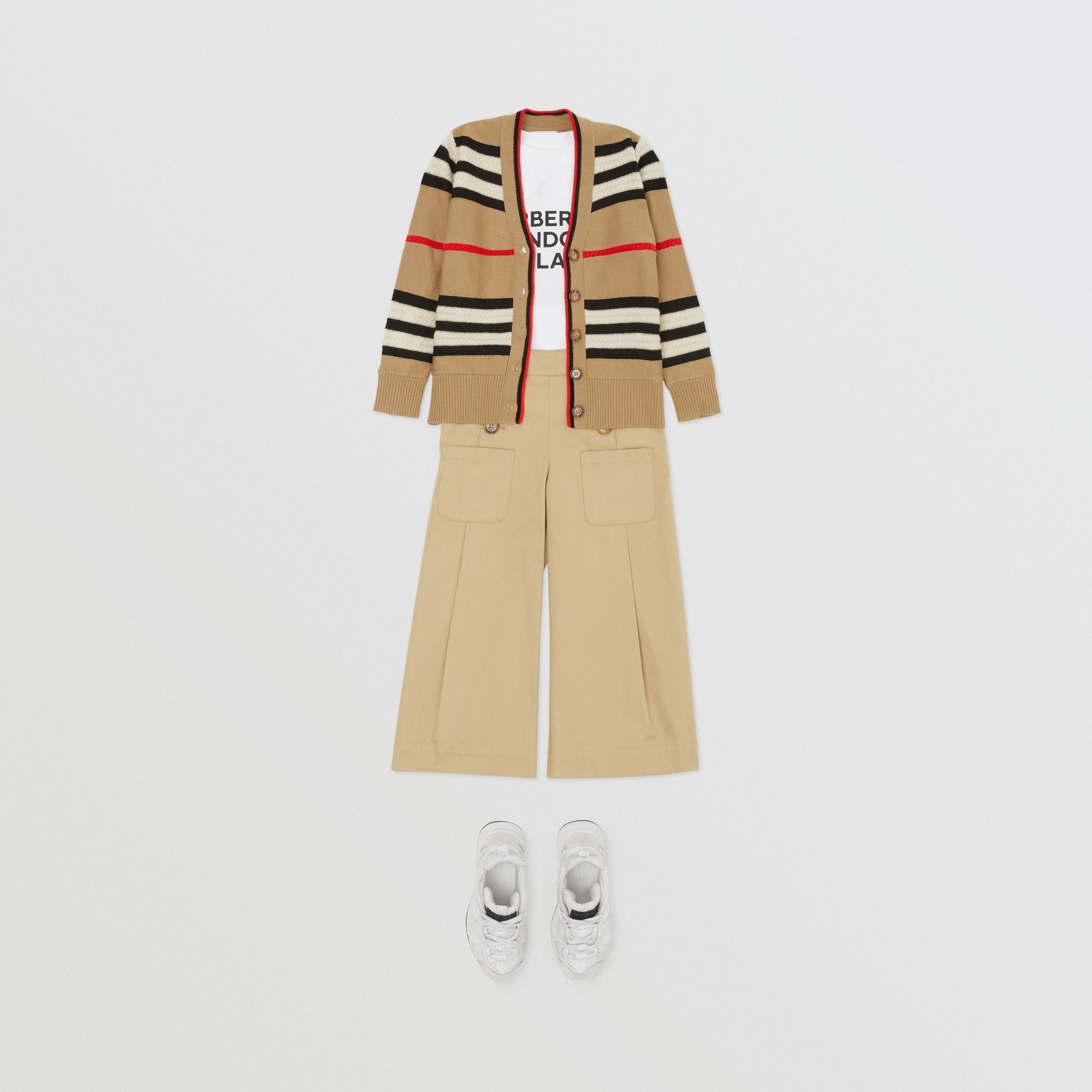 Cardigan in lana e cashmere con iconico motivo a righe | Burberry - 3