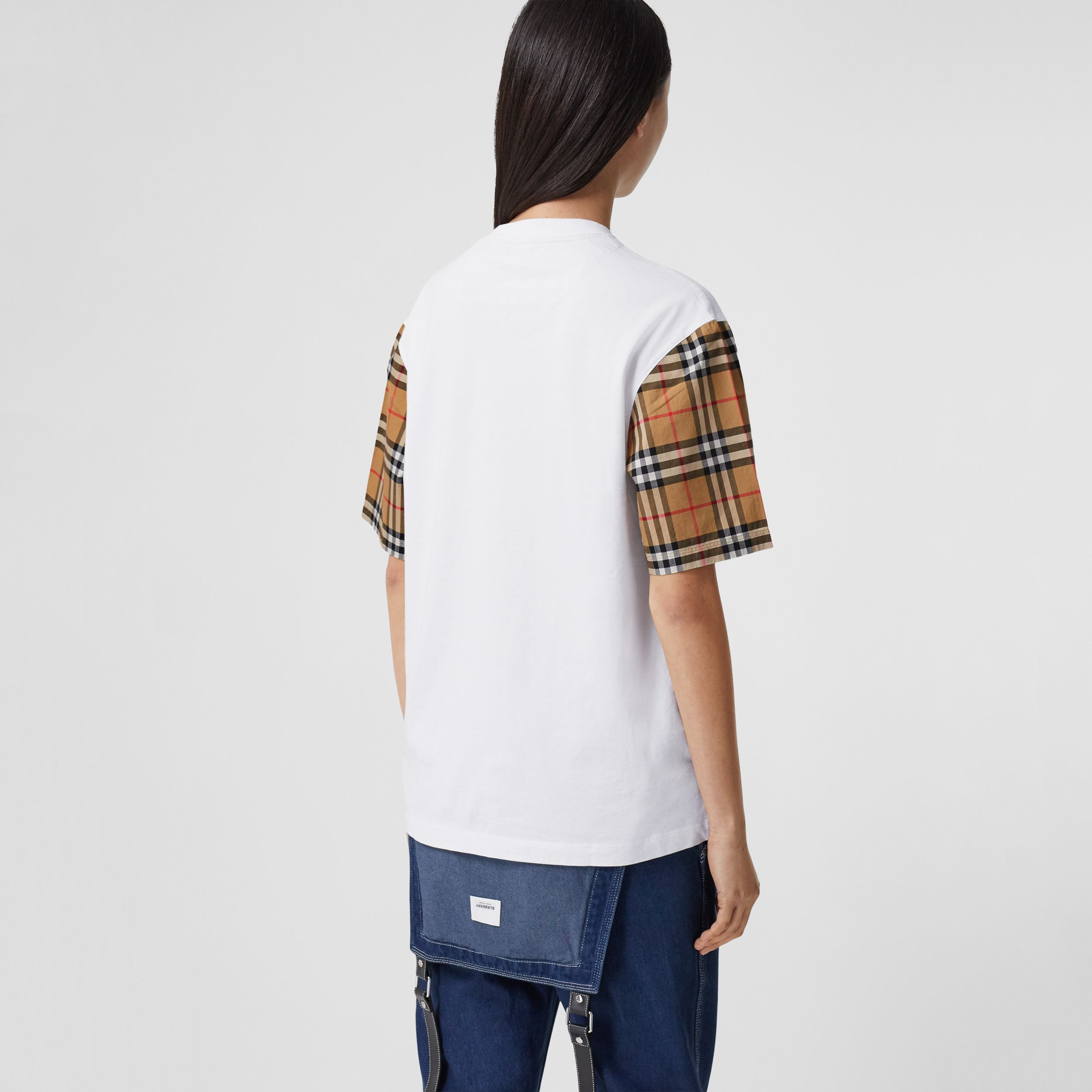 Vintage Check Sleeve Cotton T-shirt in White - Women | Burberry Australia - 3