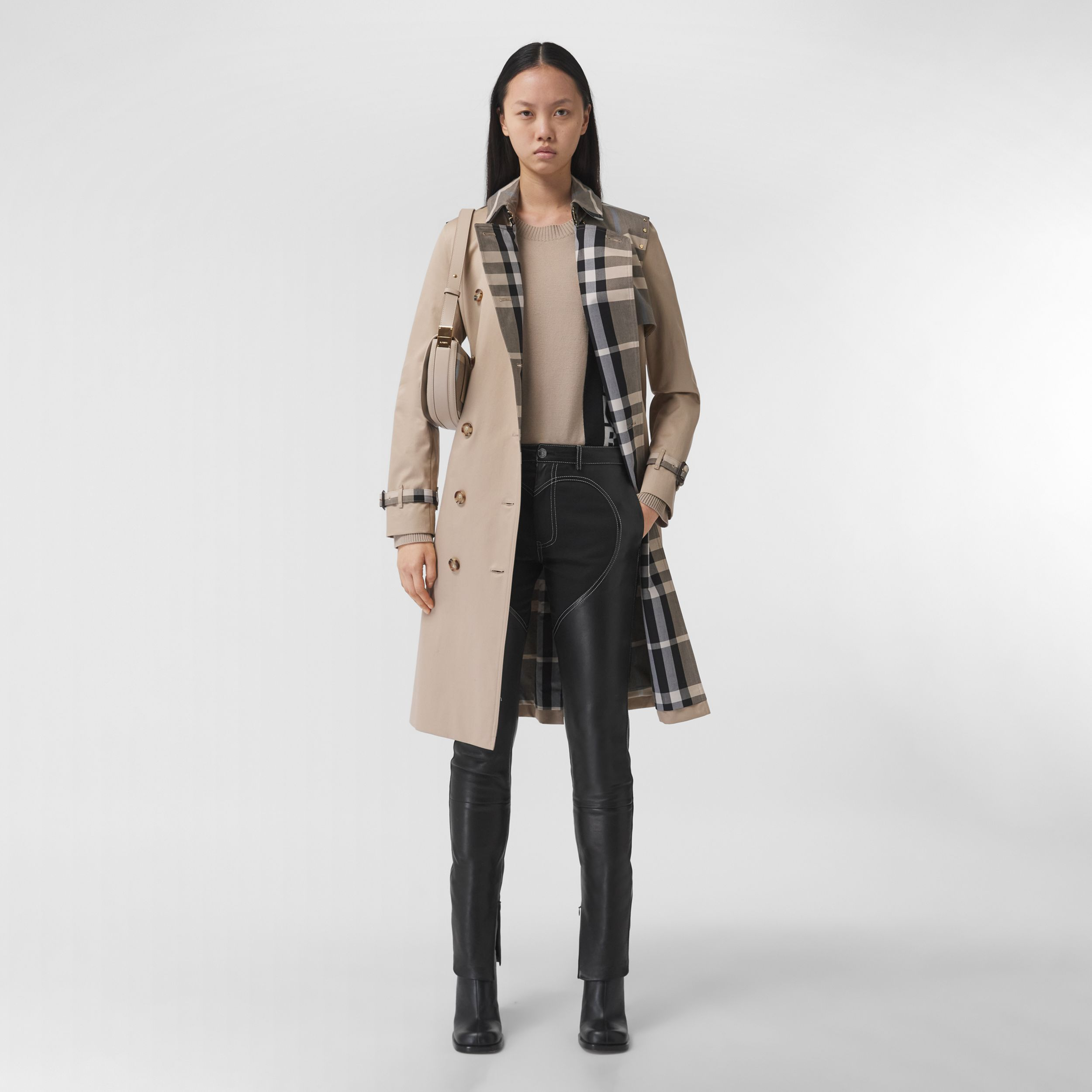 Check Panel Cotton Gabardine Trench Coat in Soft Fawn - Women | Burberry - 1