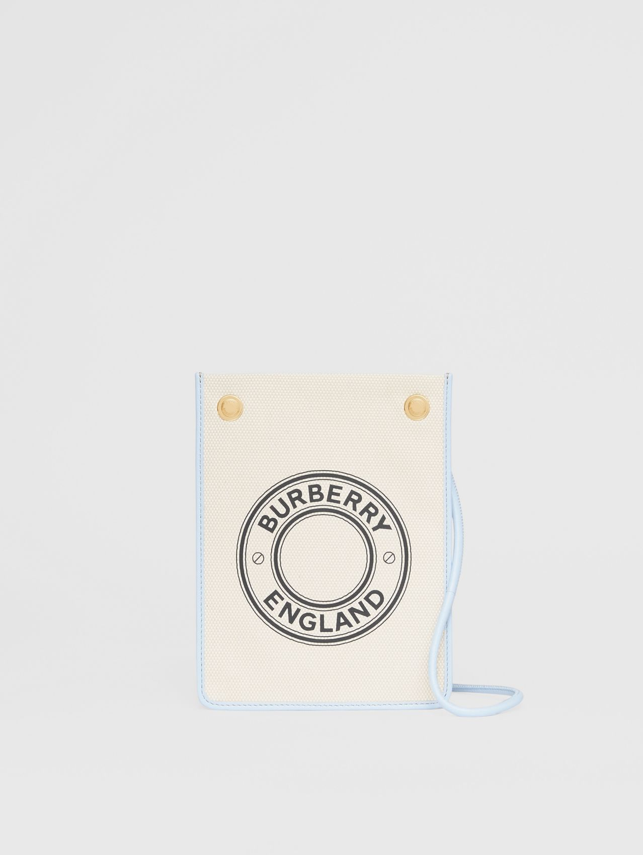 Small Logo Graphic Cotton Canvas Pouch in Natural/pale Blue
