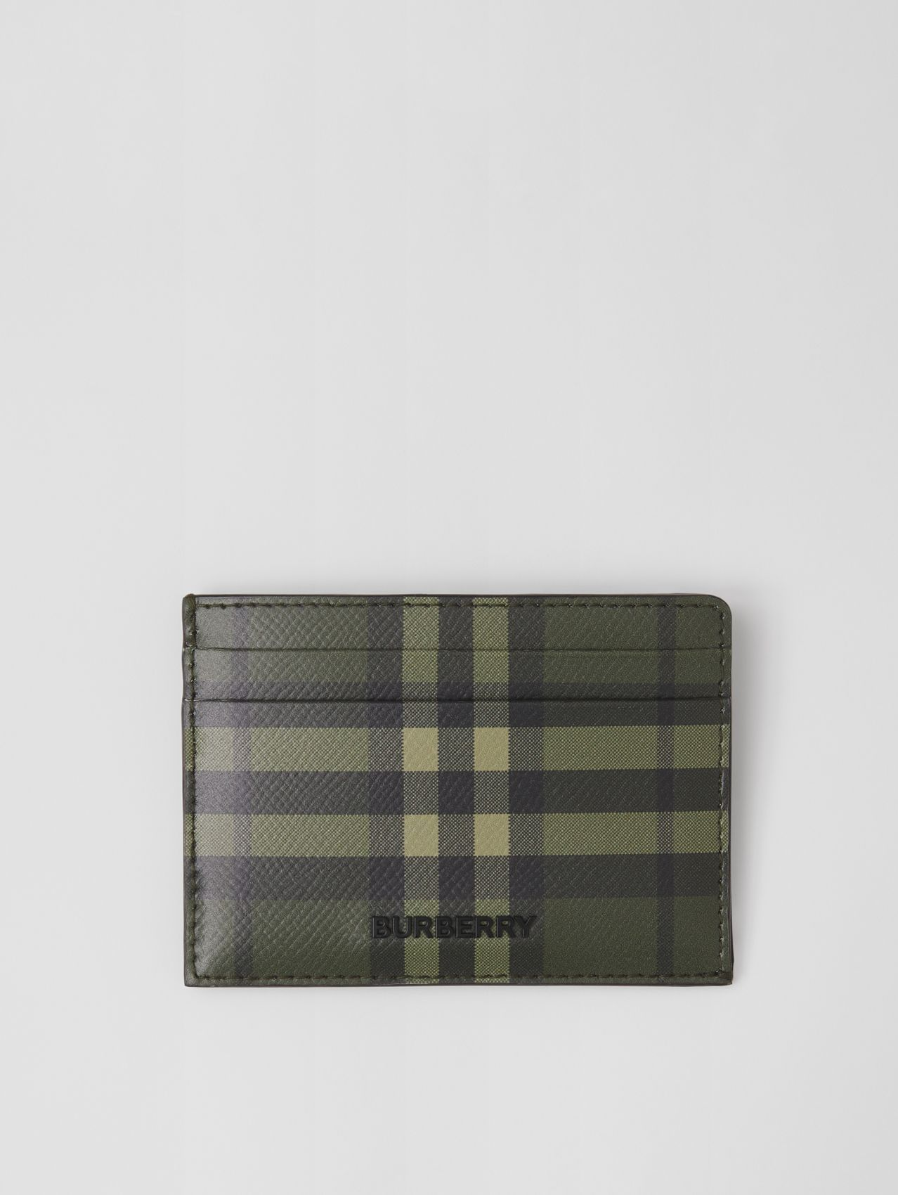 Check Print Leather Card Case in Military Green