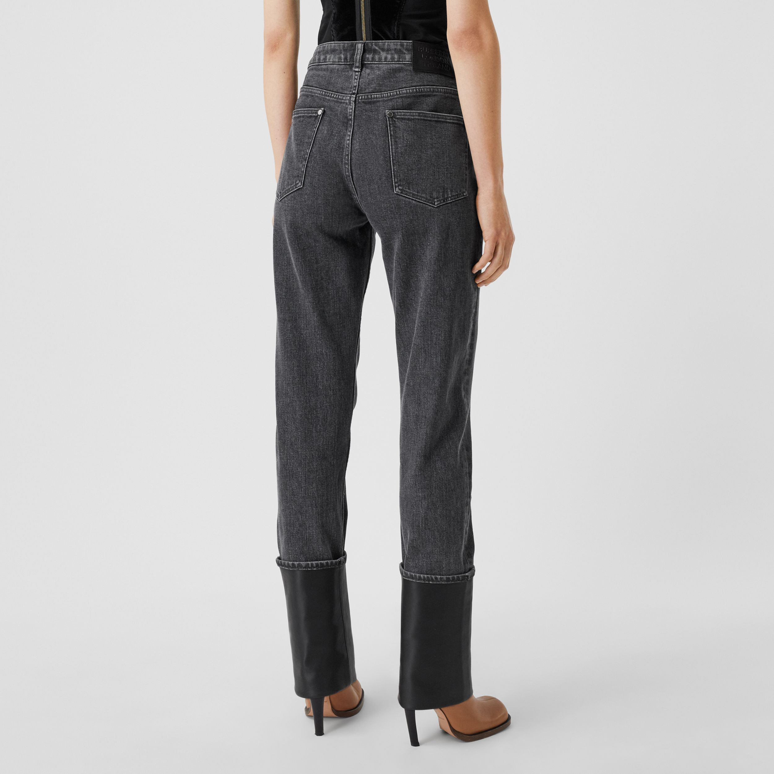 Straight Fit Contrast Cuff Washed Jeans in Grey - Women | Burberry - 3