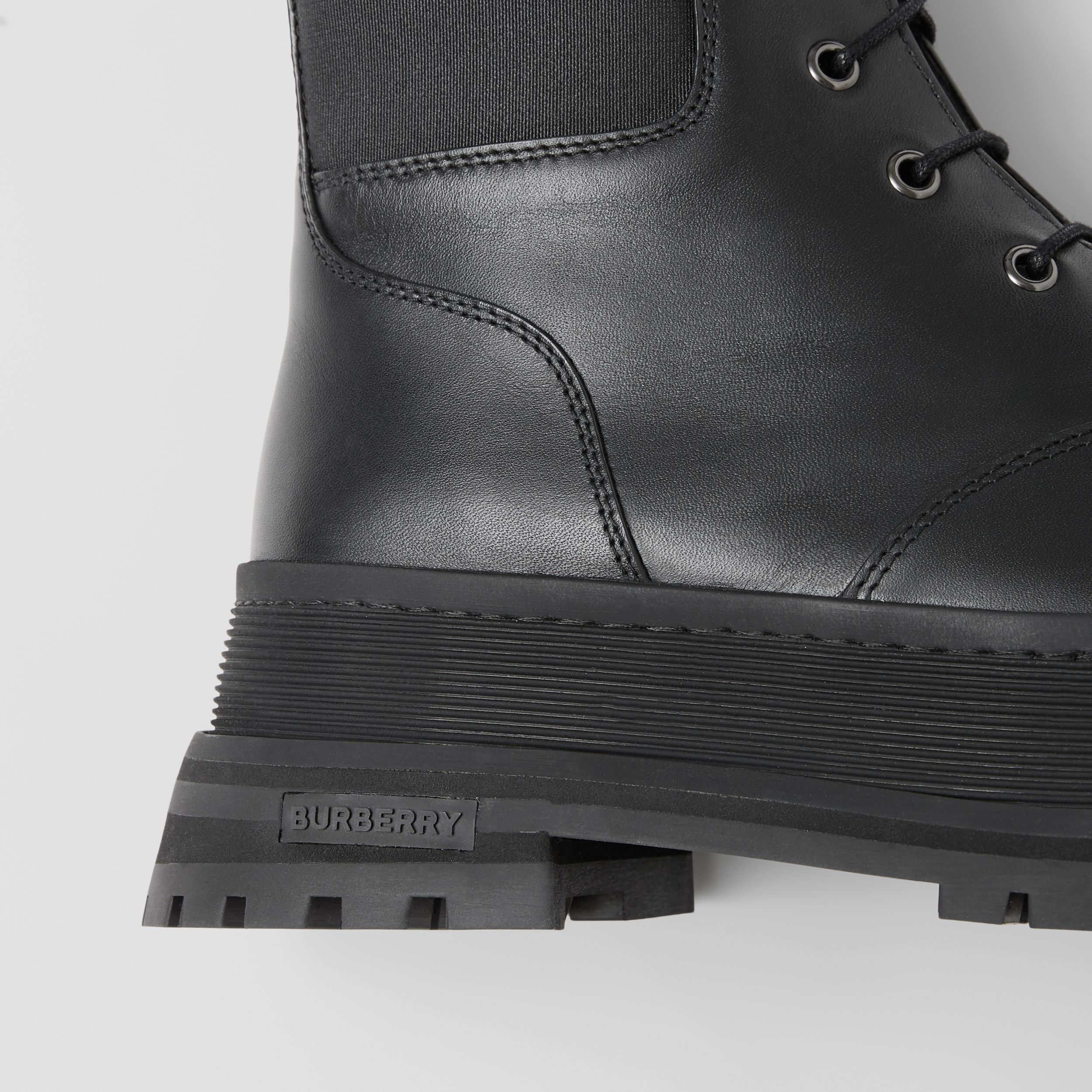 Icon Stripe Detail Lace-up Leather Boots in Black - Women | Burberry United States - 2