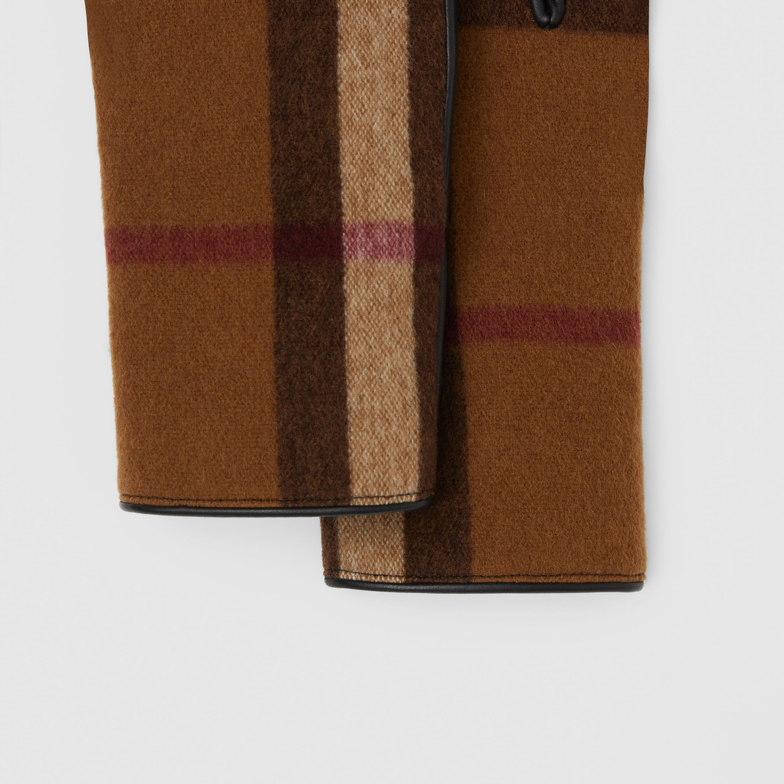 Cashmere-lined Check Wool and Lambskin Gloves in Birch Brown | Burberry - 2