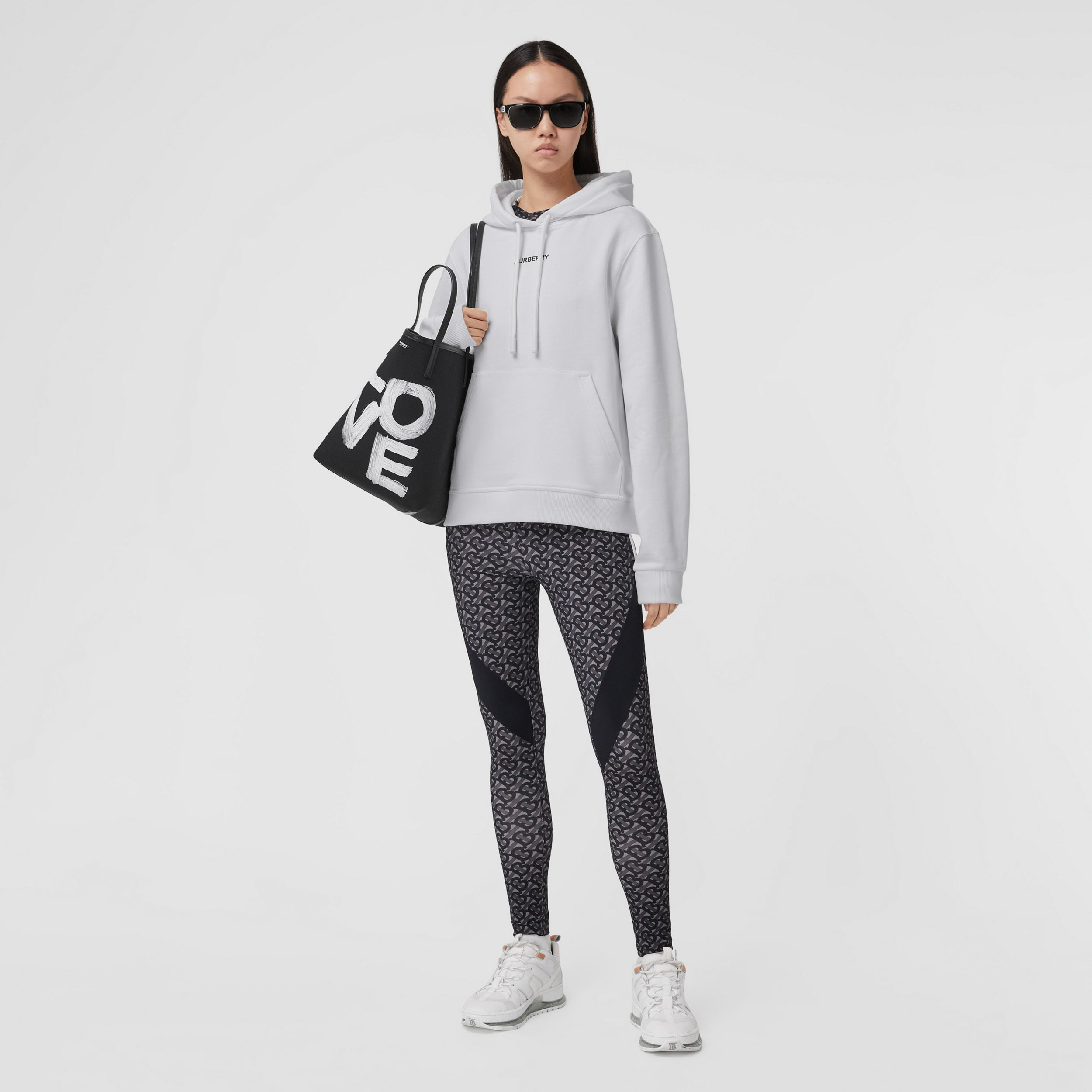 Meditation Print Cotton Oversized Hoodie in White - Women | Burberry - 1