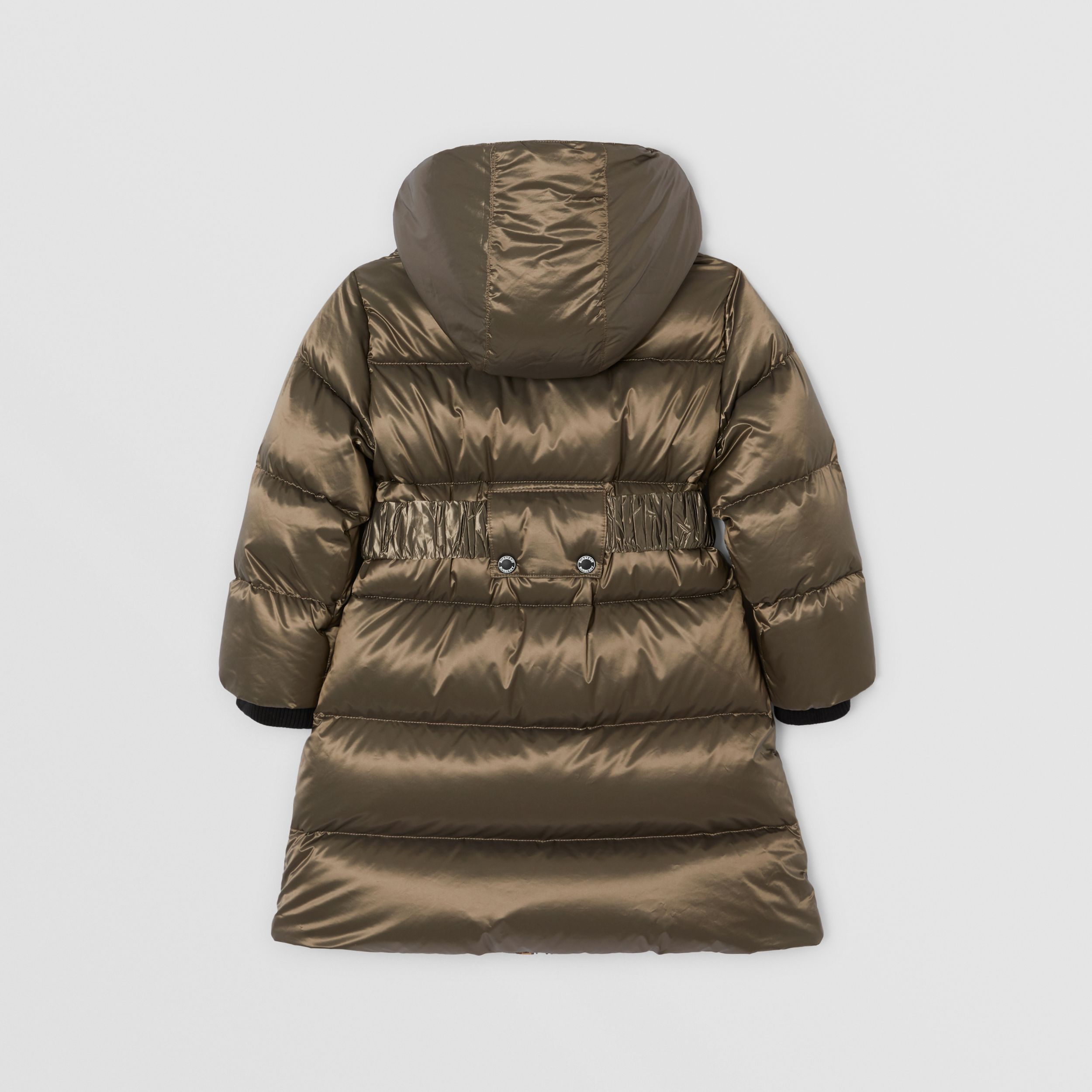 Icon Stripe Trim Hooded Puffer Coat in Smoke | Burberry - 4