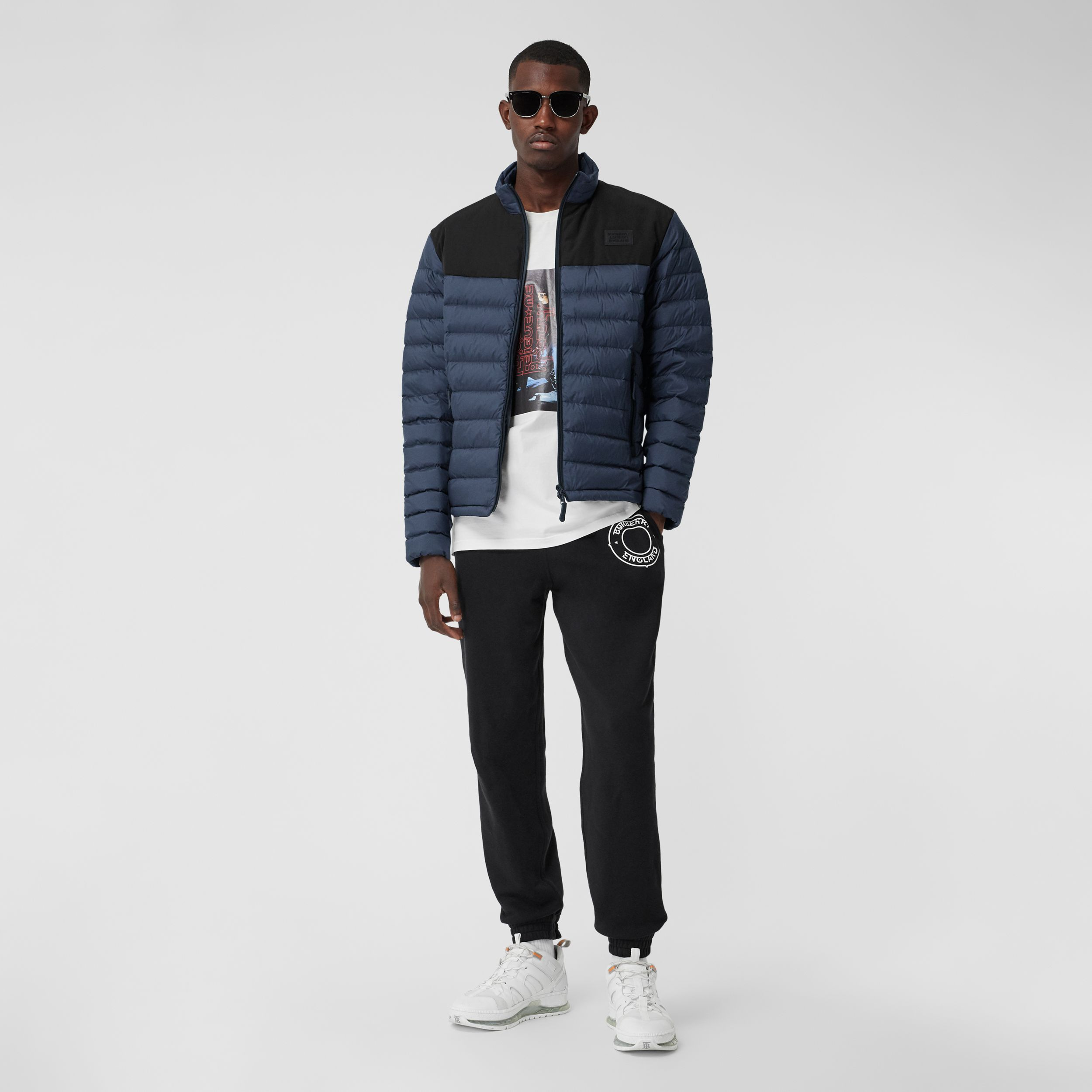 Logo Appliqué Lightweight Puffer Jacket in Navy - Men | Burberry - 1