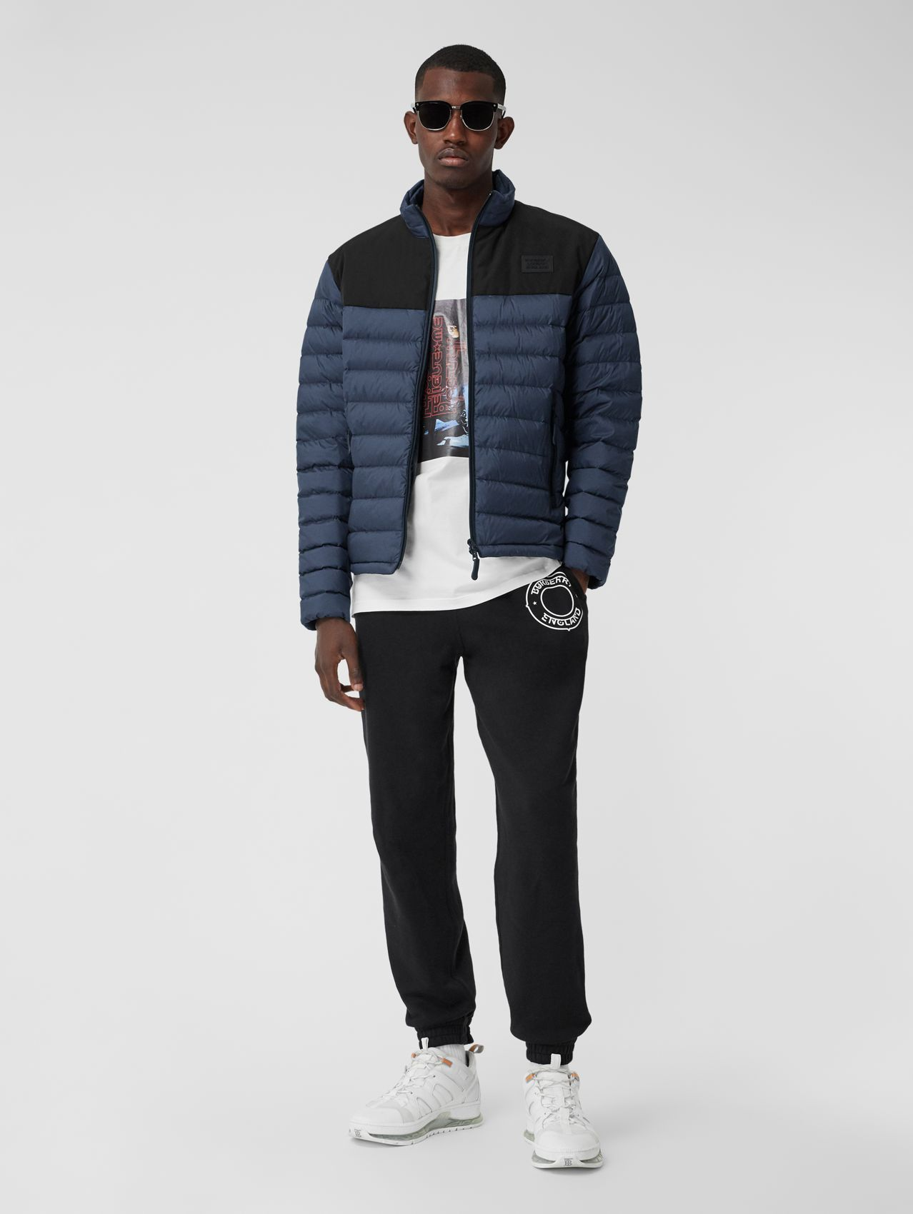 Logo Appliqué Lightweight Puffer Jacket in Navy