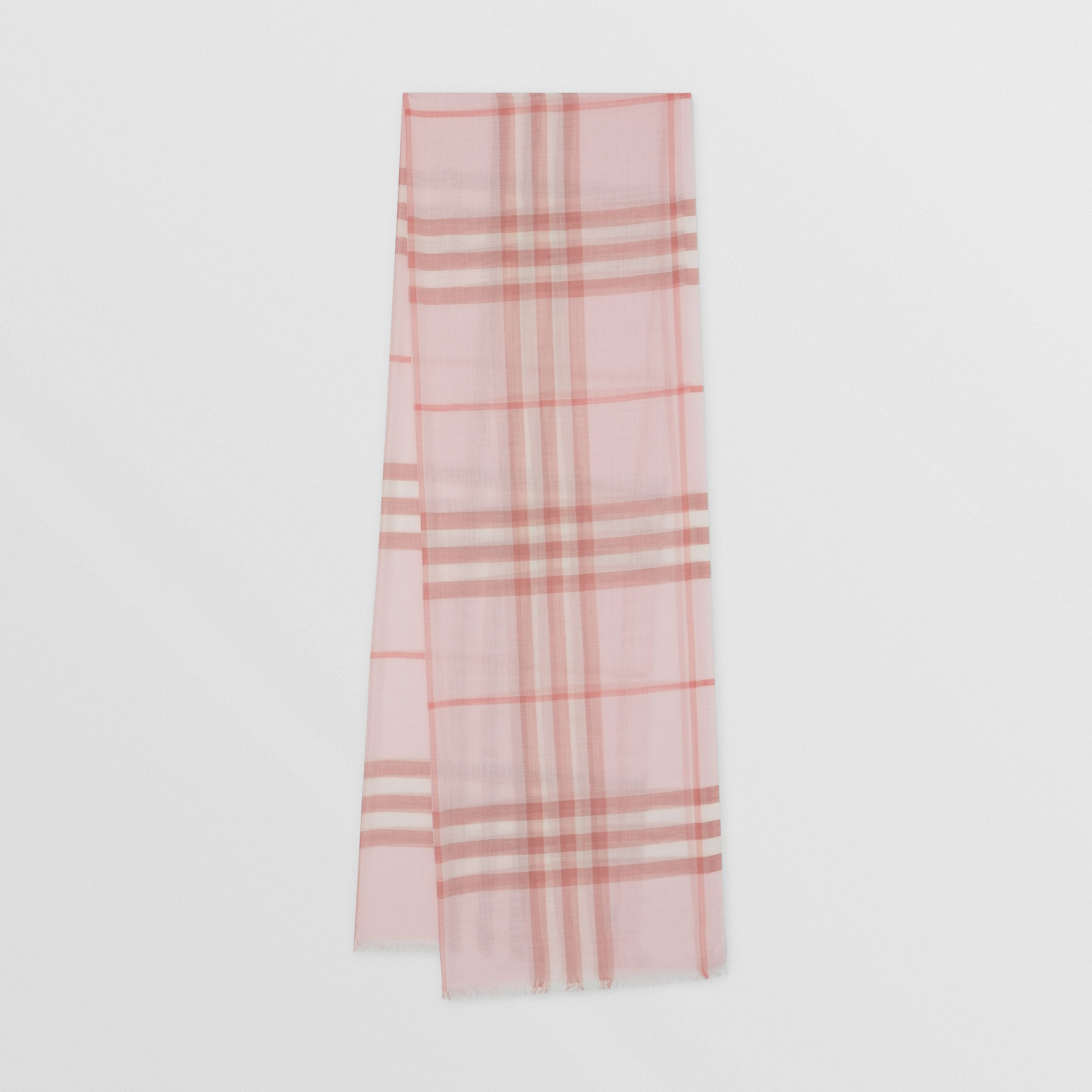 Lightweight Check Wool Silk Scarf | Burberry - 1