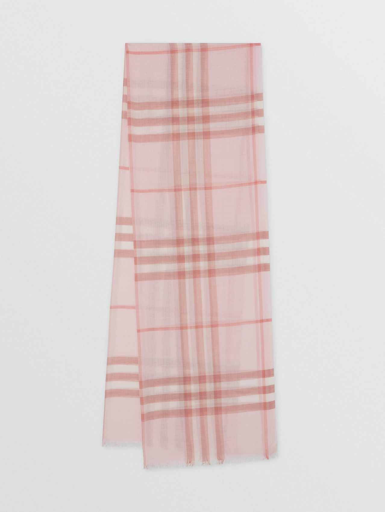 Lightweight Check Wool Silk Scarf