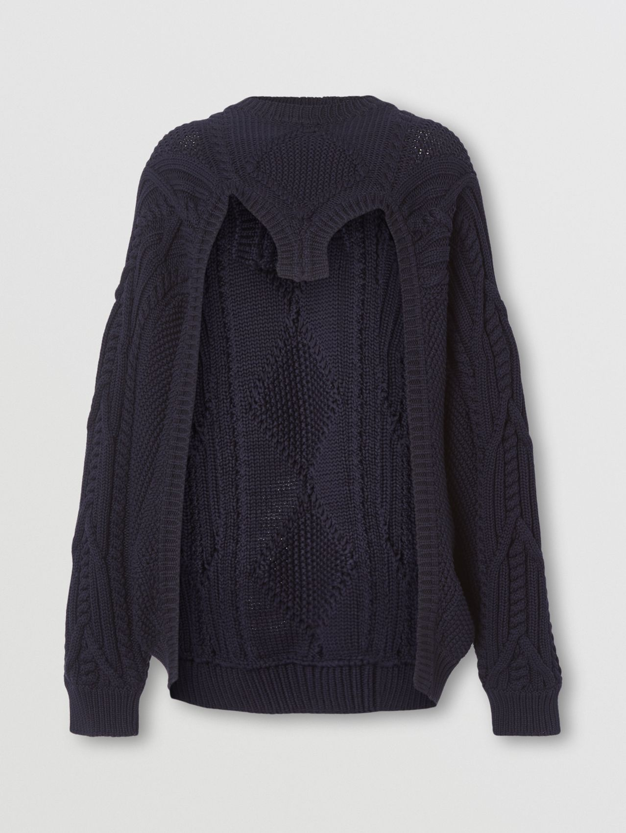 Cable Knit Technical Cotton Reconstructed Sweater in Black