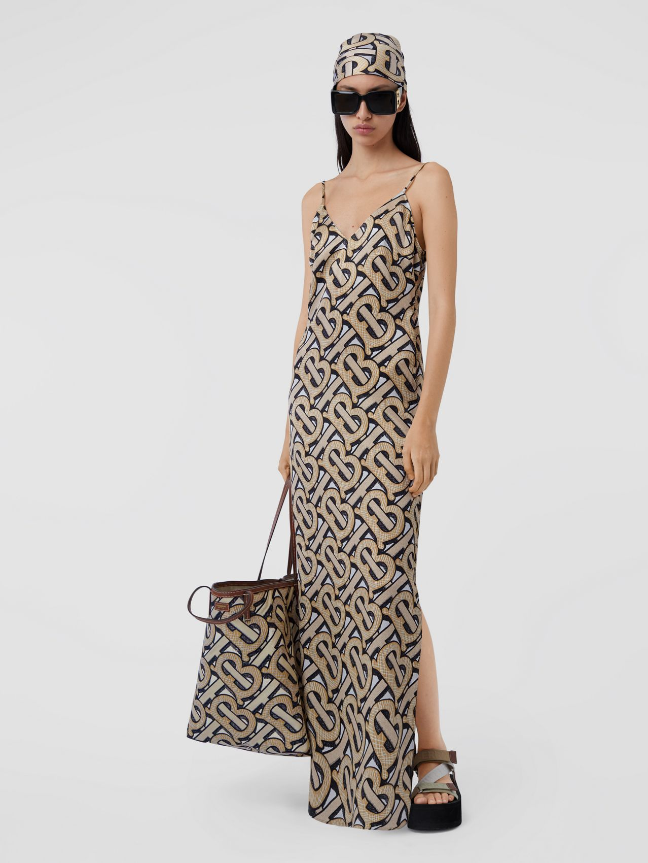 Monogram Print Silk Satin Slip Dress in Dark Beige