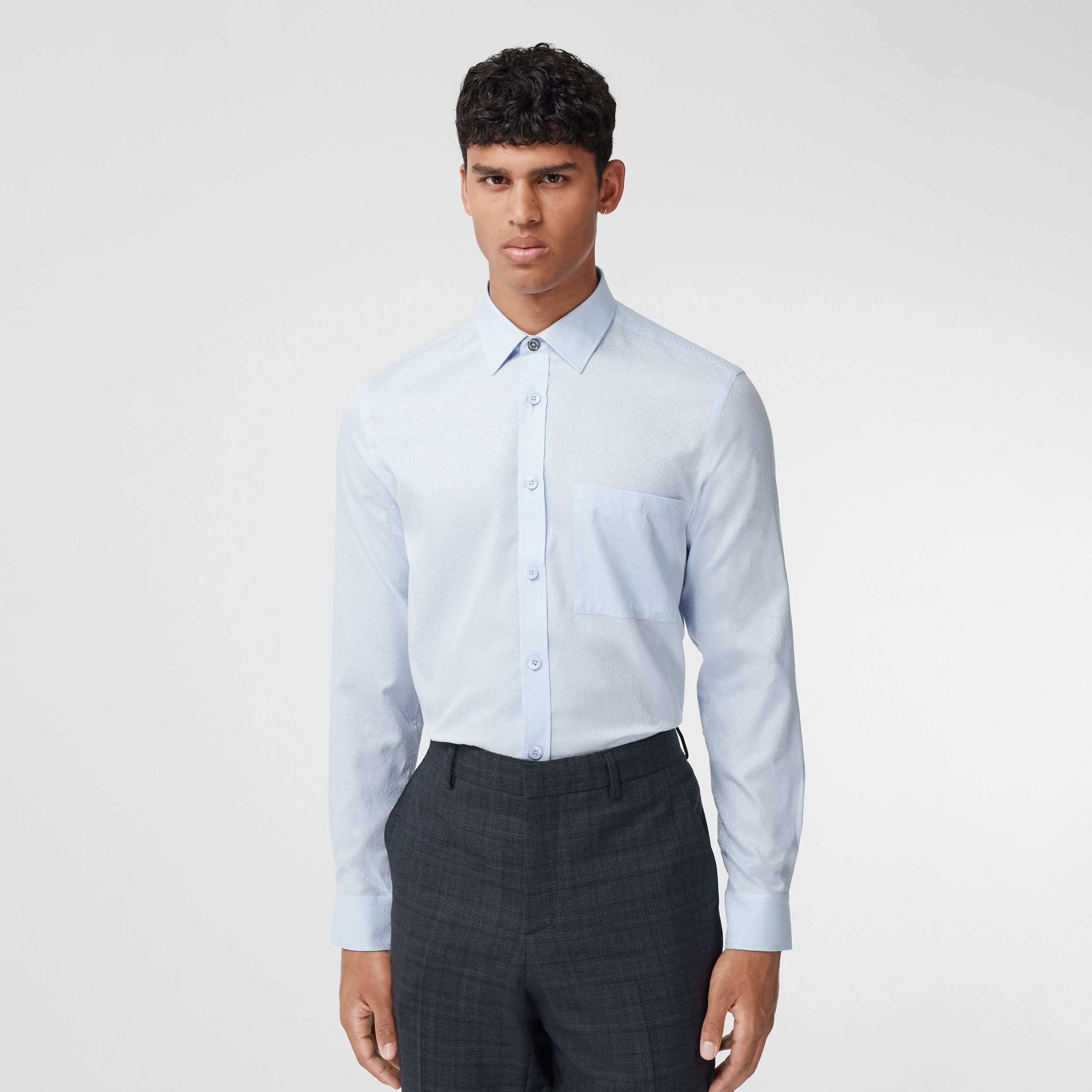 Slim Fit Monogram Cotton Jacquard Shirt - Men | Burberry Australia - 1