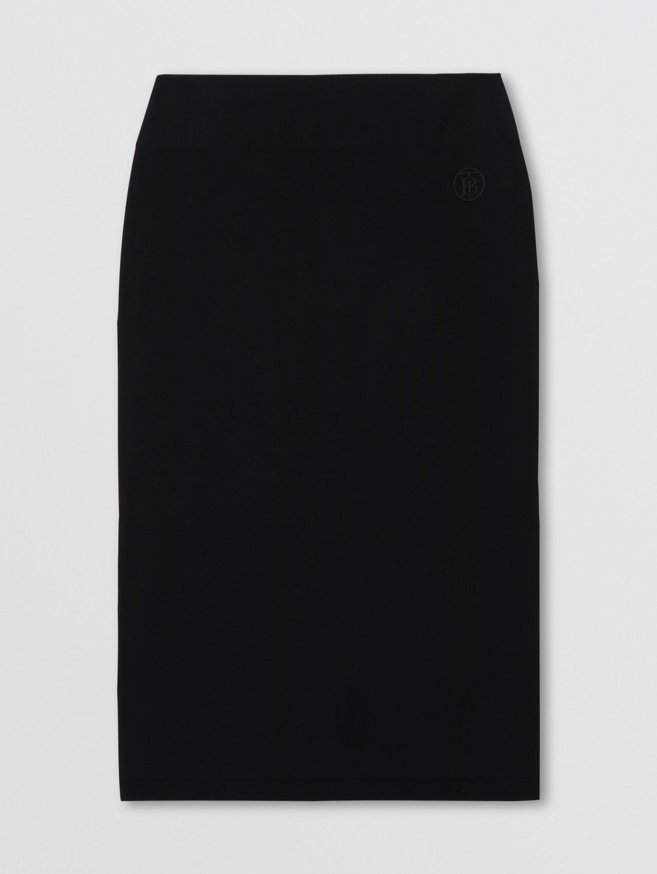 Monogram Motif Stretch Jersey Pencil Skirt in Black