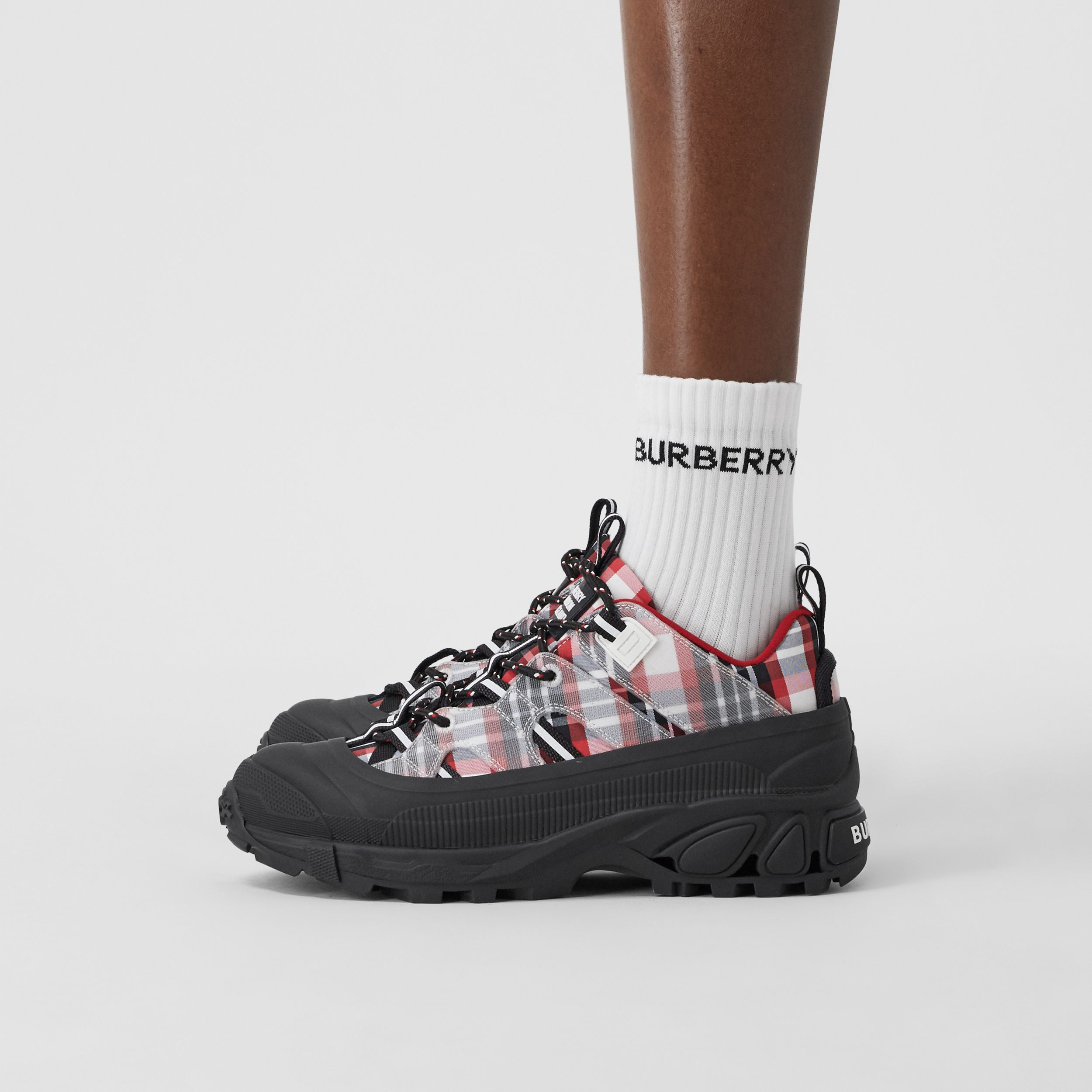 Tartan Nylon Arthur Sneakers in Red/black/white - Women | Burberry United Kingdom - 3