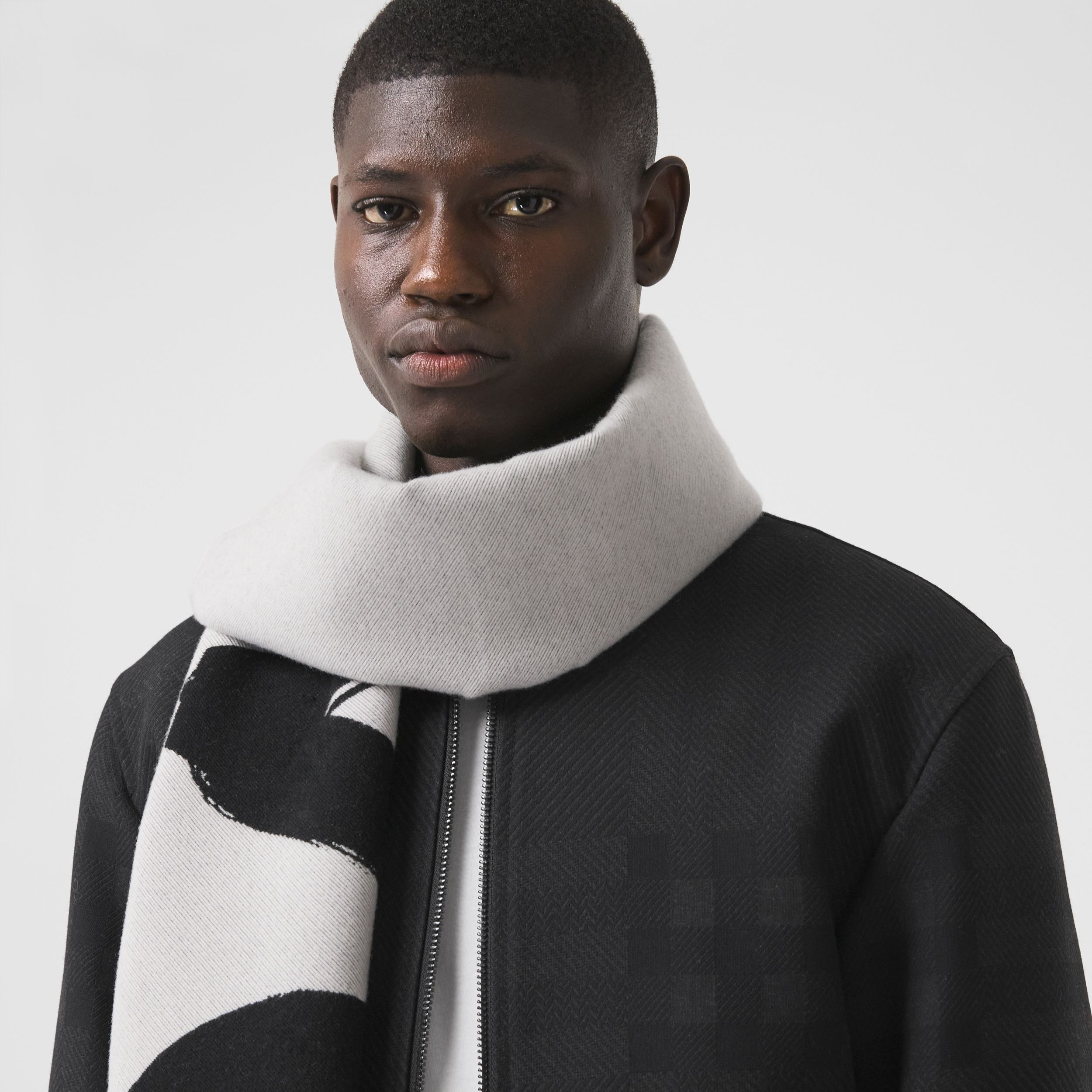 Love and Logo Wool Silk Jacquard Scarf in Black | Burberry - 4