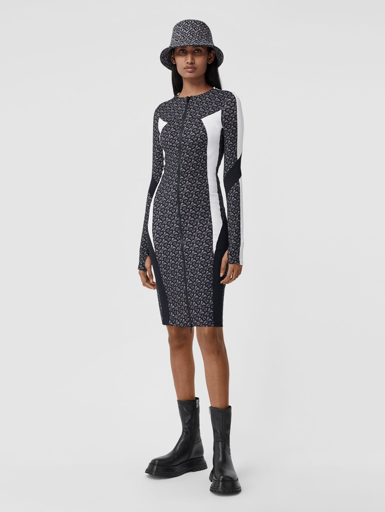 Colour Block Monogram Print Stretch Jersey Dress in Graphite