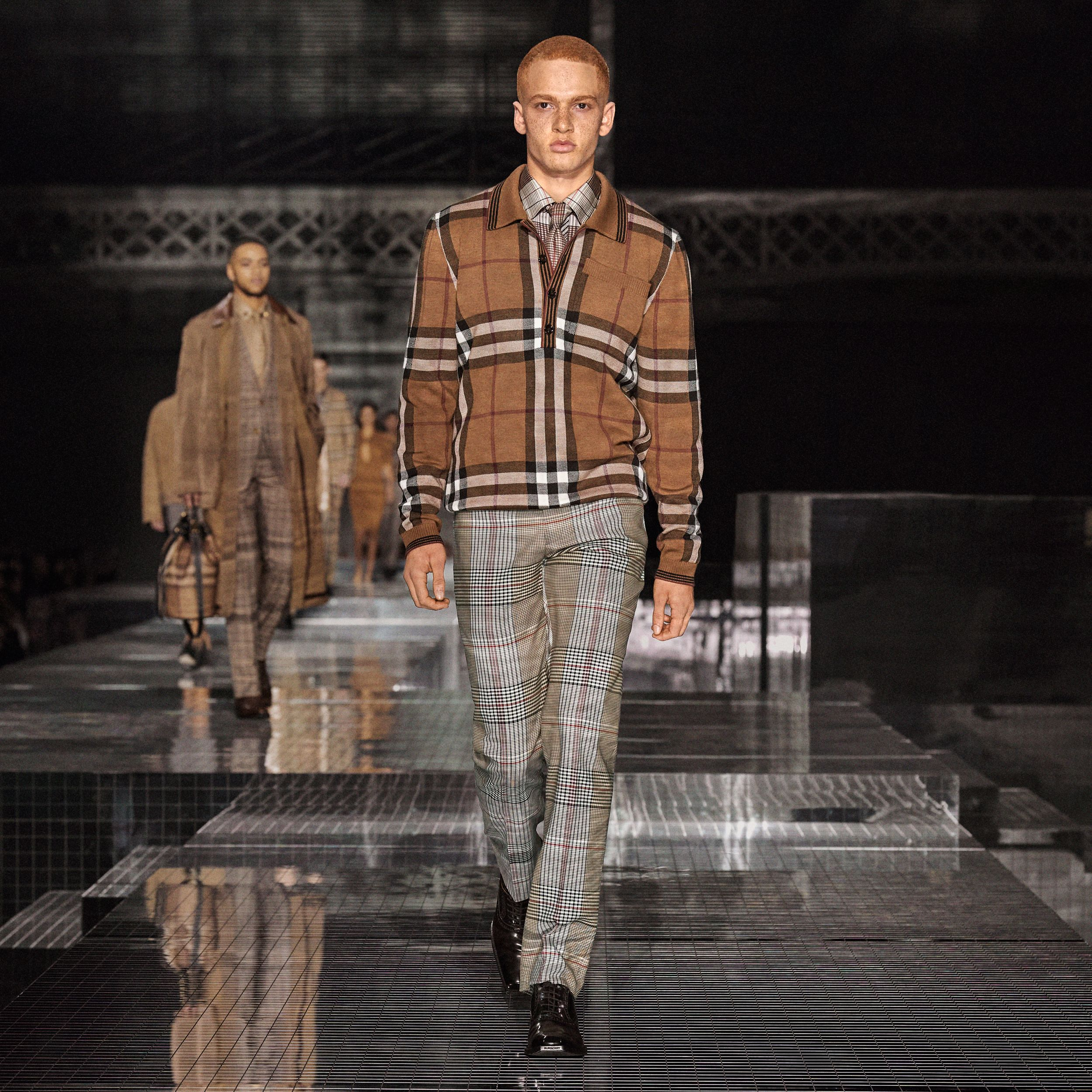 Check Wool Tailored Trousers in Beige - Men | Burberry - 3