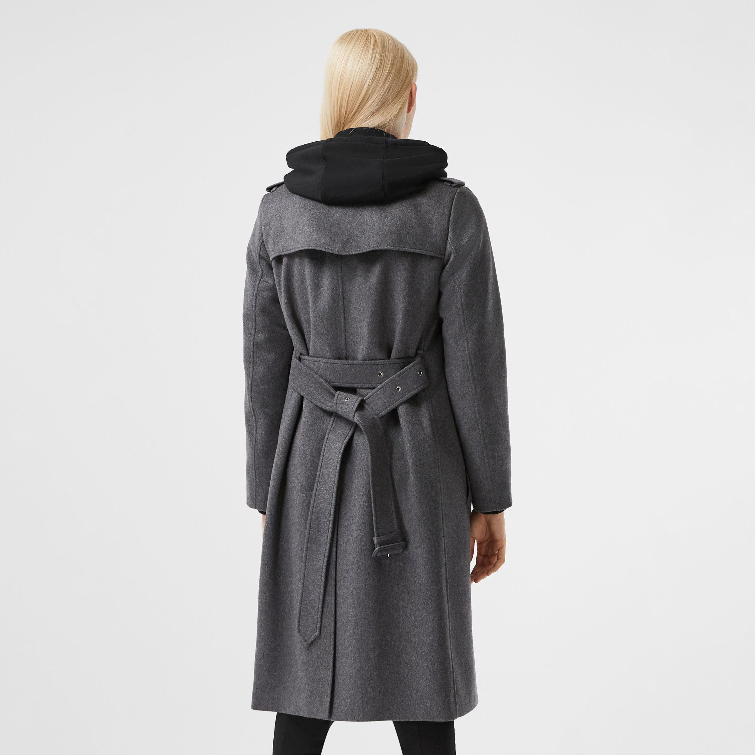 Regenerated Cashmere Trench Coat in Mid Grey Melange - Women | Burberry - 3