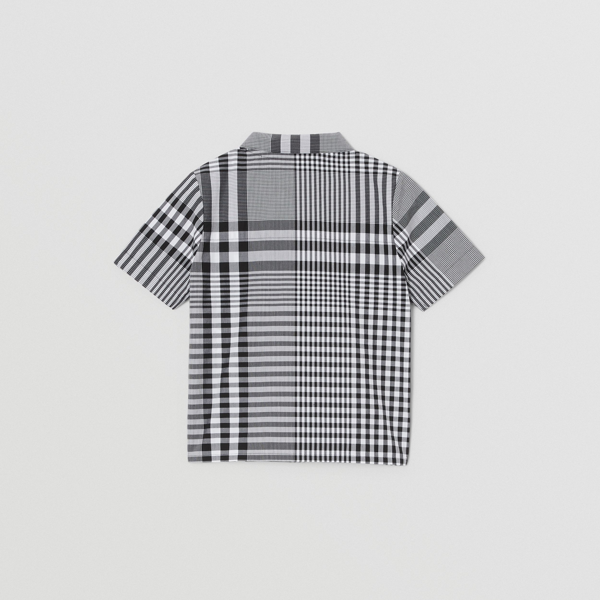 Short-sleeve Monogram Motif Check Cotton Shirt in Black - Children | Burberry United Kingdom - 4