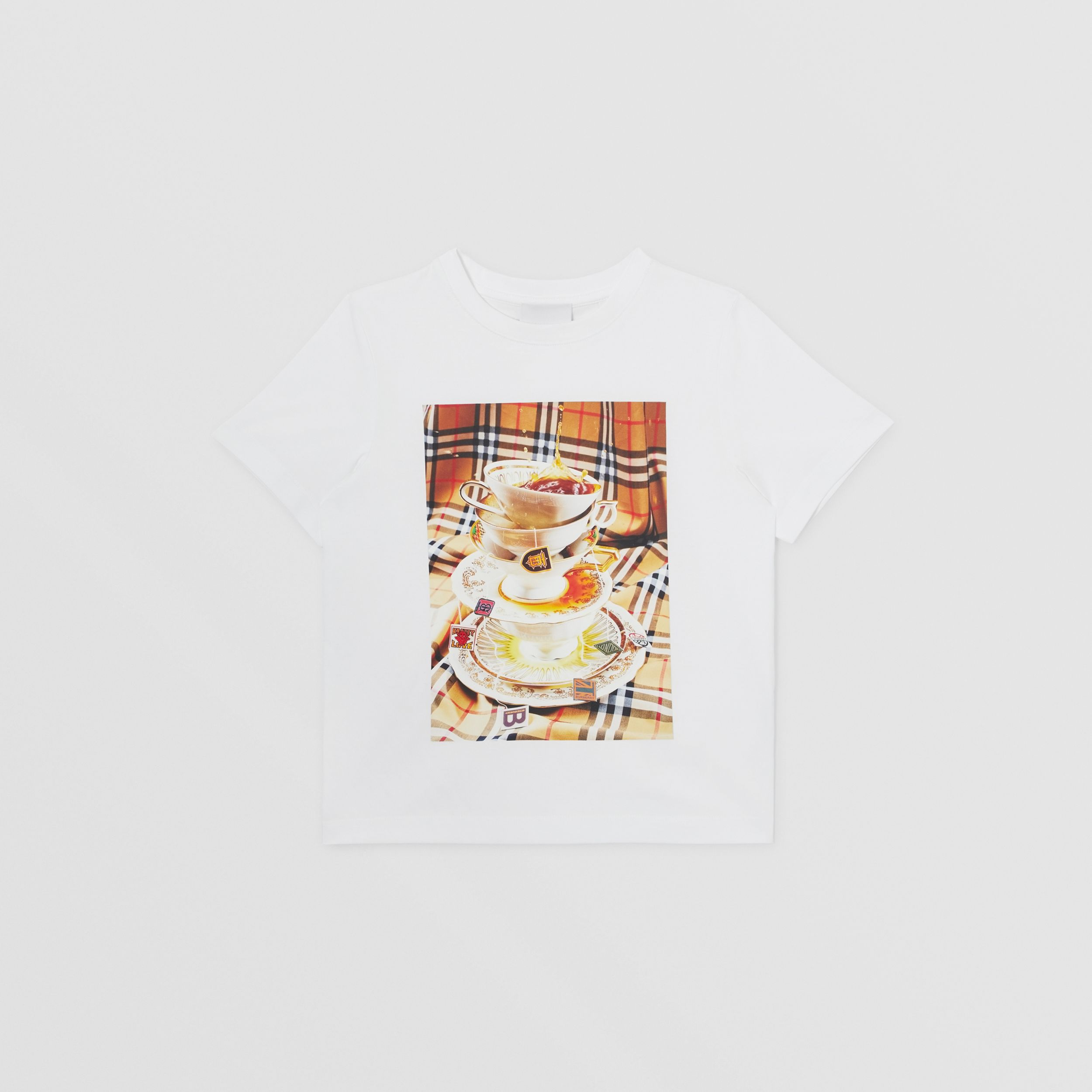 Teacup Print T-shirt in Multicolour | Burberry - 1