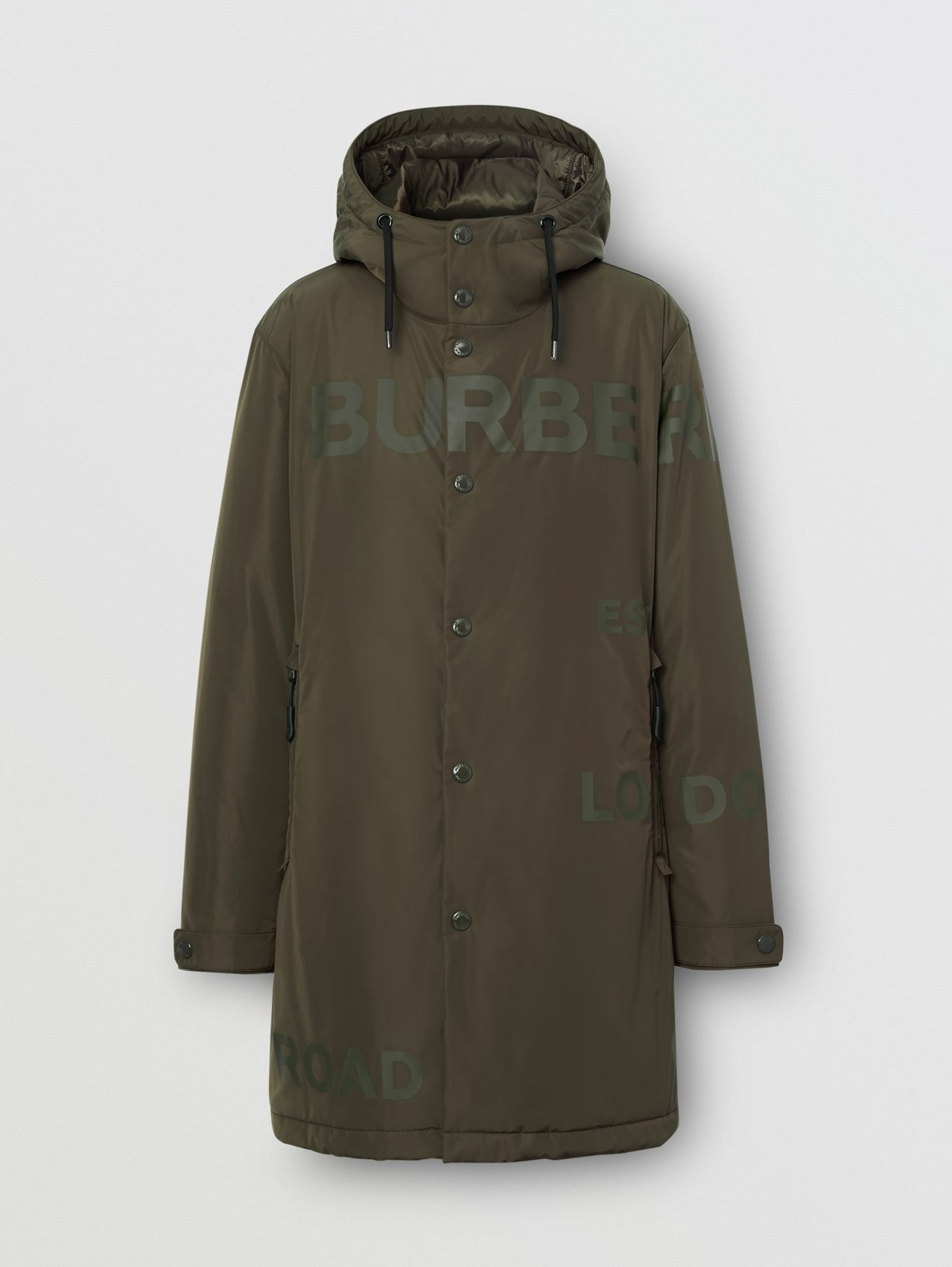 Horseferry Print Shape-memory Taffeta Hooded Coat in Khaki
