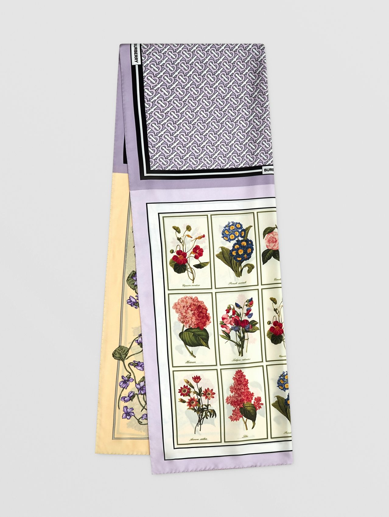 Montage Print Silk Scarf in Pale Thistle